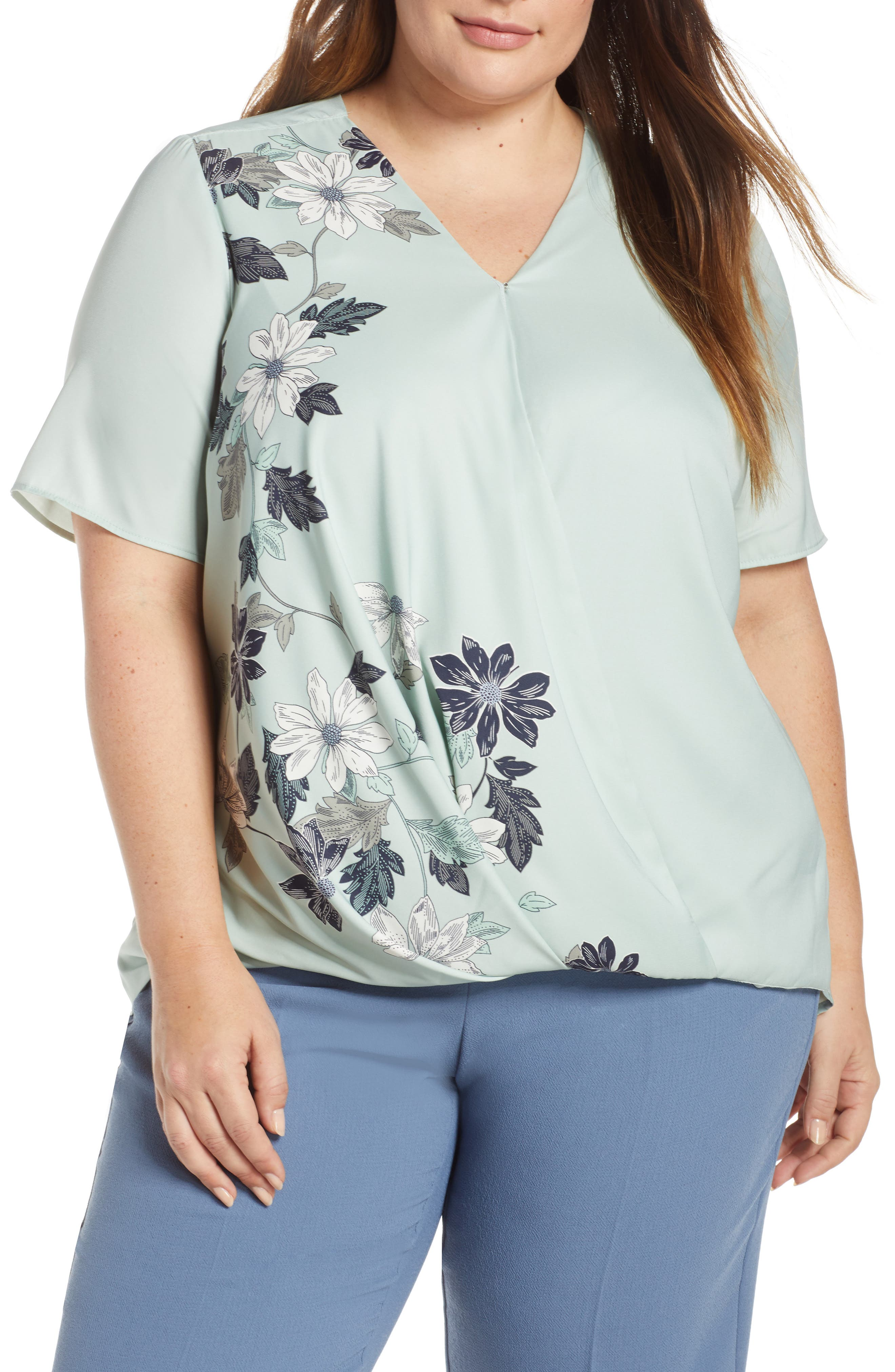 Vince Camuto Tops FLORAL VINES CROSSOVER TOP