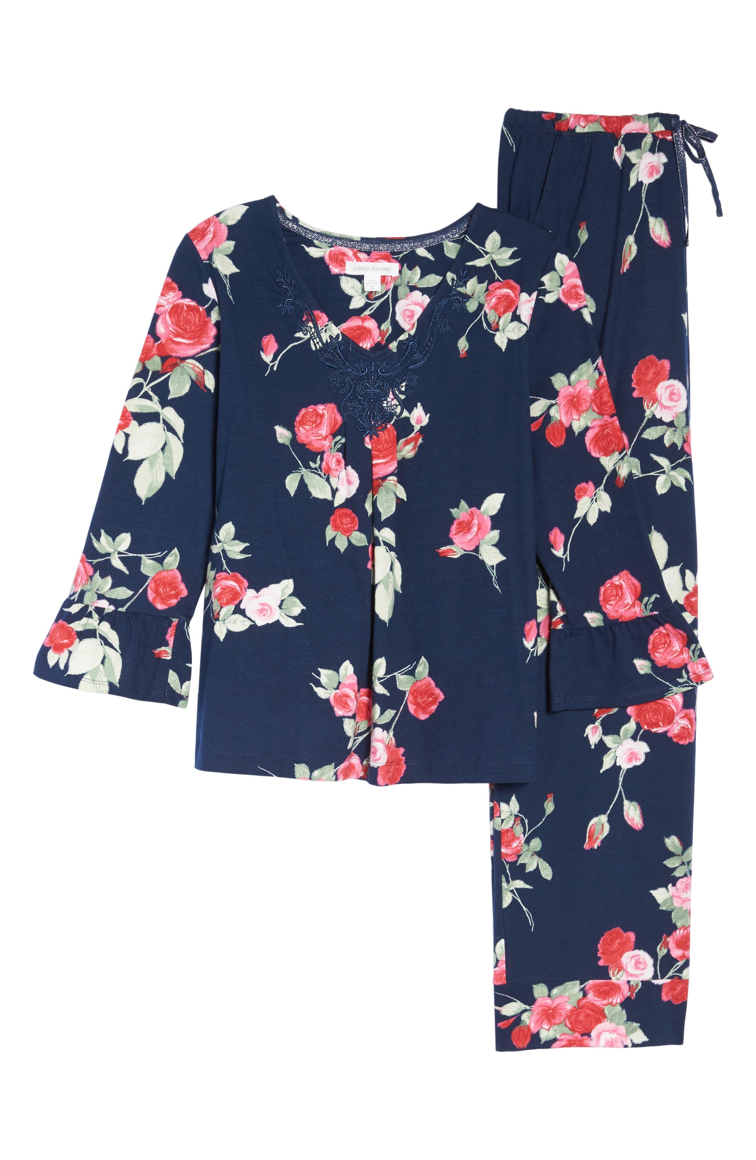 Floral Print Pajamas,                             Alternate thumbnail 6, color,                             490