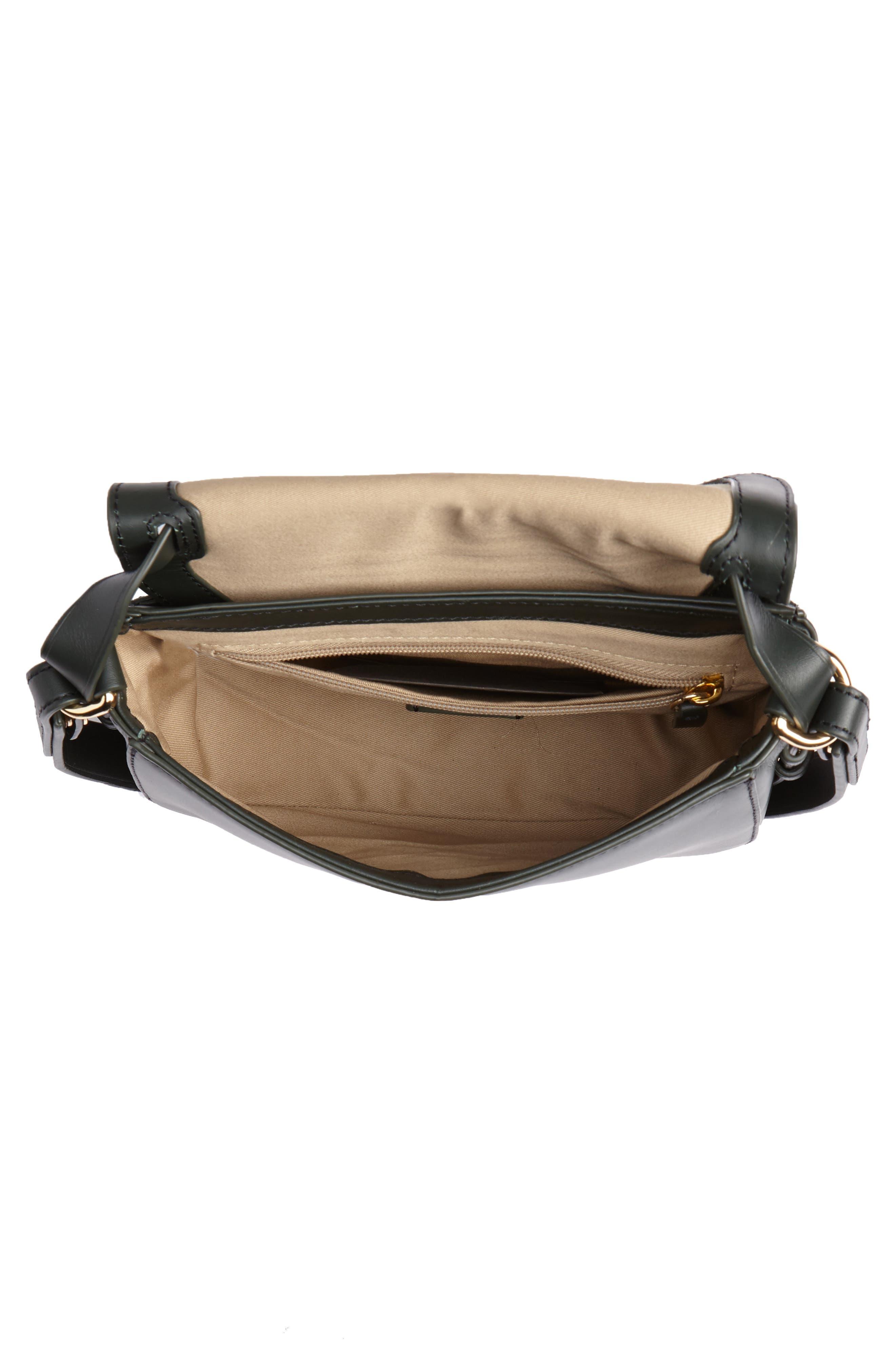 Harper Leather Crossbody Bag,                             Alternate thumbnail 4, color,                             DARK EVERGREEN