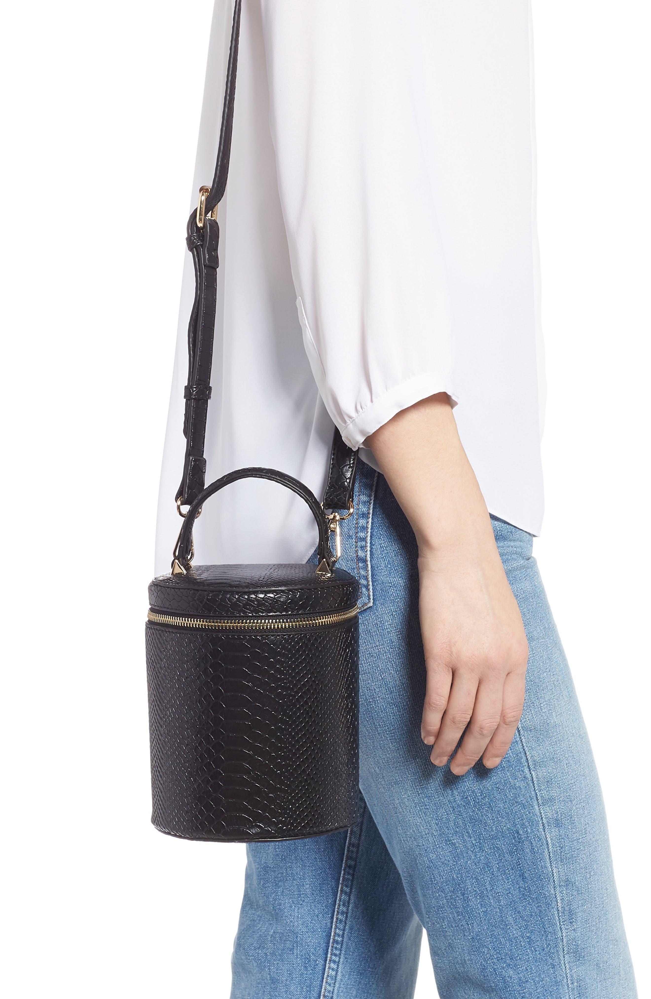 Marion Snake Embossed Bucket Bag,                             Alternate thumbnail 2, color,                             001