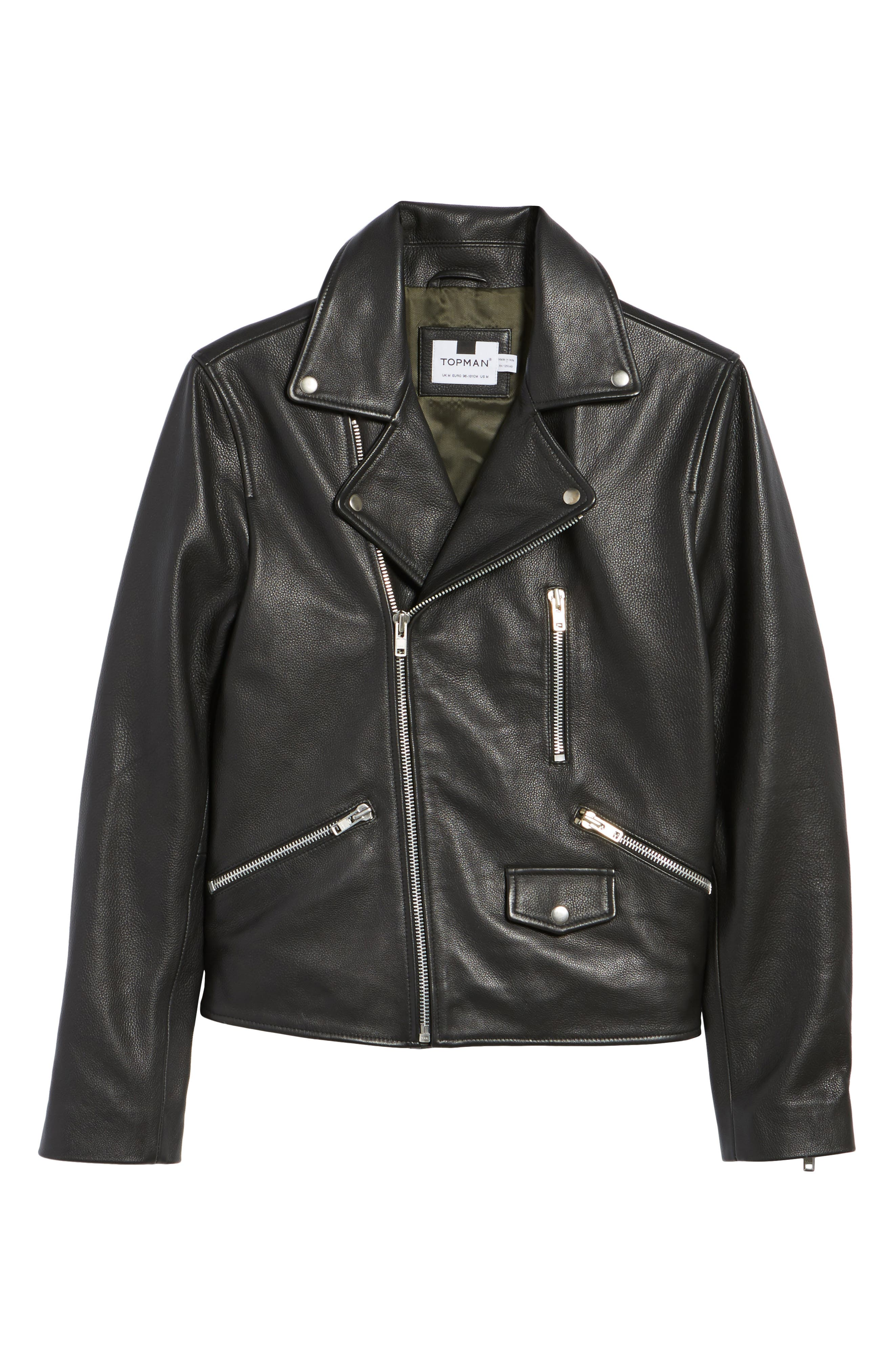 Staines Leather Moto Jacket,                             Alternate thumbnail 5, color,                             001