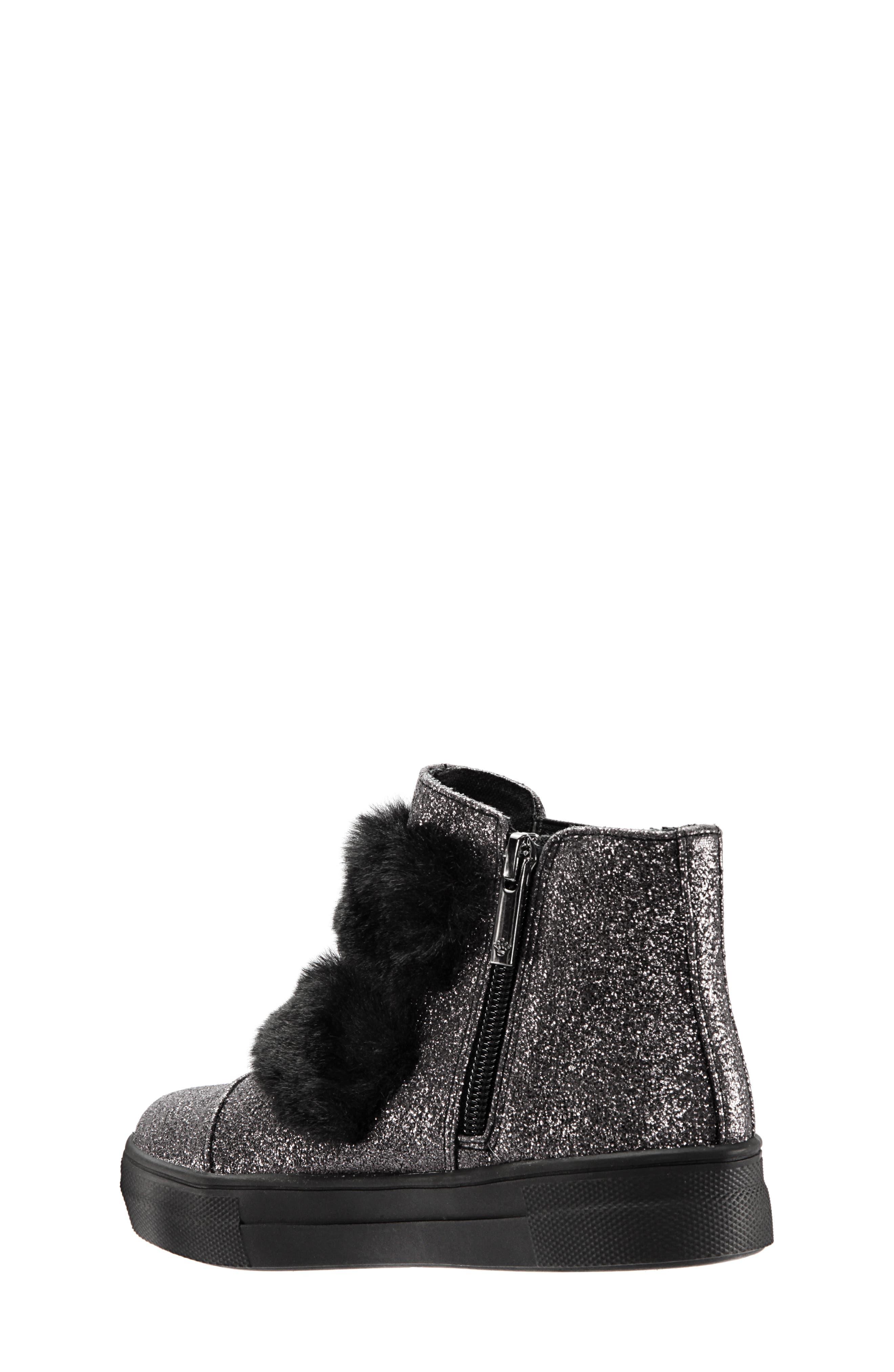 Helen Faux Fur Bootie Sneaker,                             Alternate thumbnail 2, color,                             PEWTER CRACKLE METALLIC