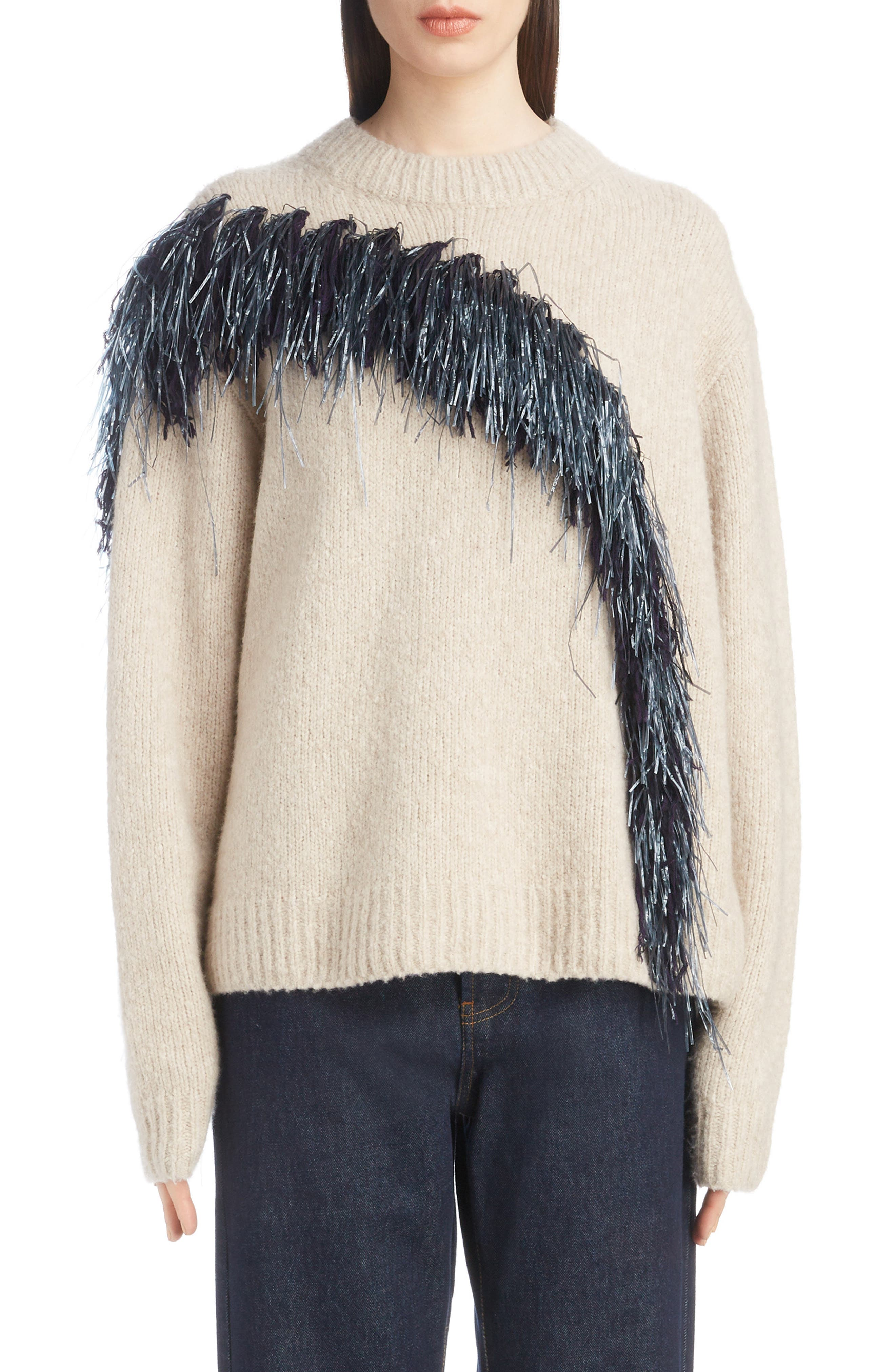 Raffia Fringe Sweater,                             Main thumbnail 1, color,                             ECRU