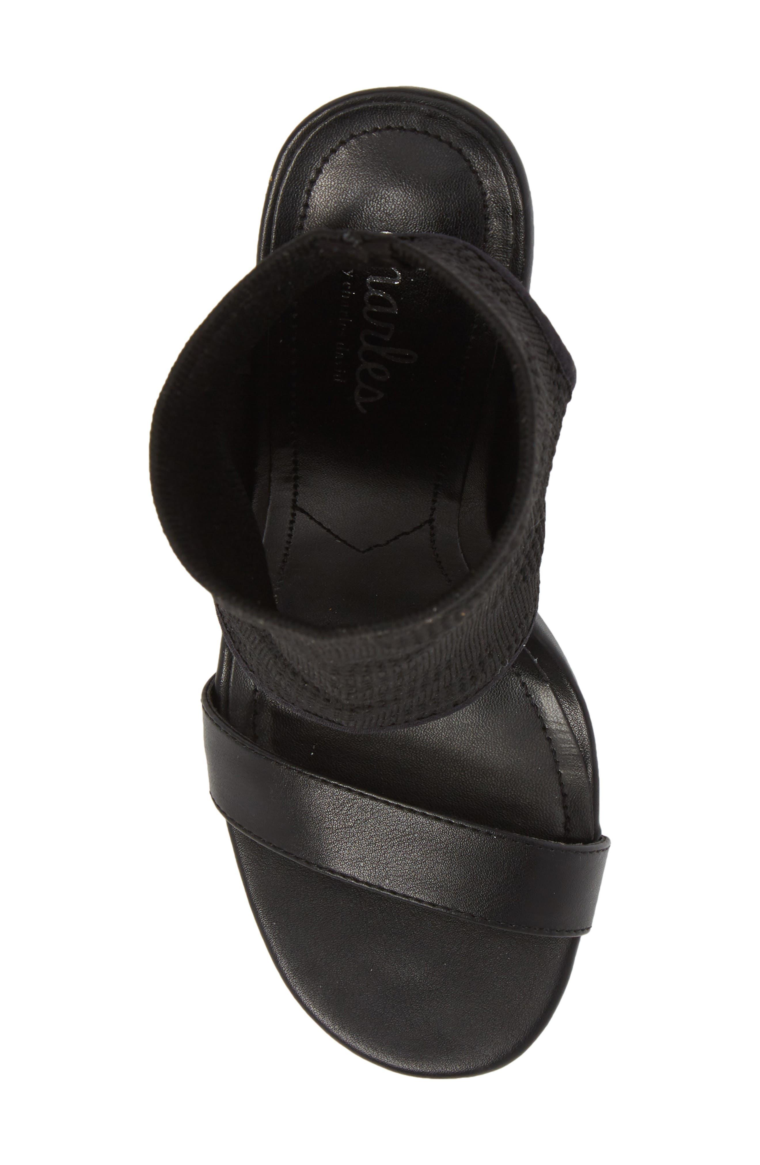 Remote Sock Cuff Sandal,                             Alternate thumbnail 5, color,                             BLACK FABRIC