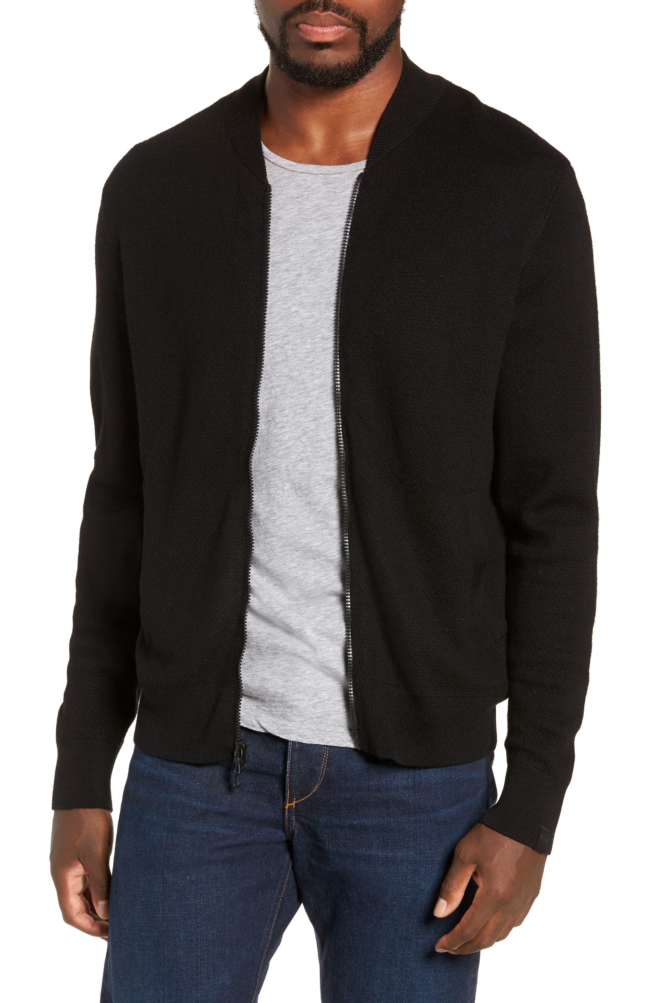 Orwell Slim Fit Wool Bomber Jacket,                             Main thumbnail 1, color,                             BLACK/ BLACK
