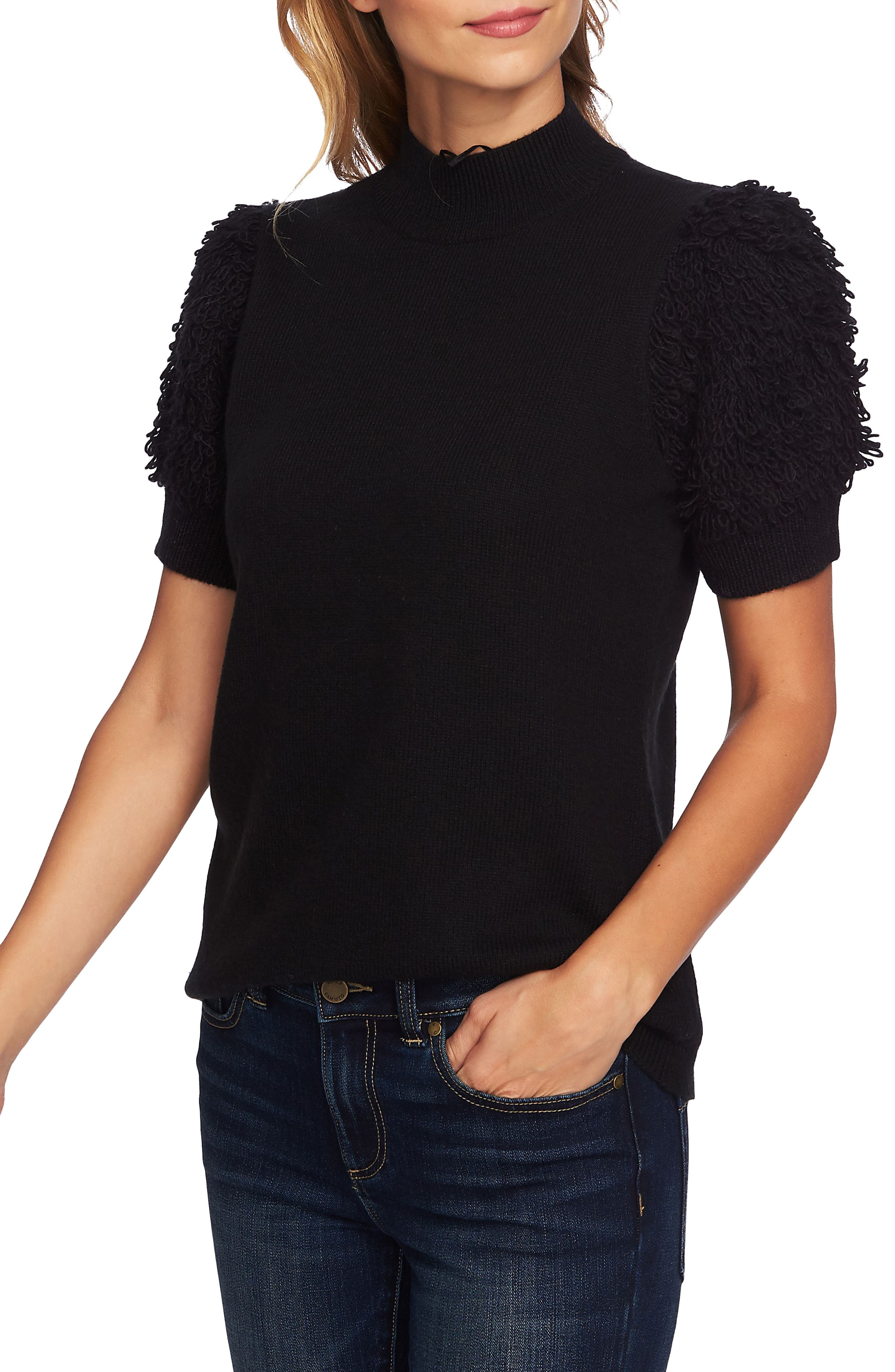 Poodle Sleeve Mock Neck Sweater,                             Main thumbnail 1, color,                             001