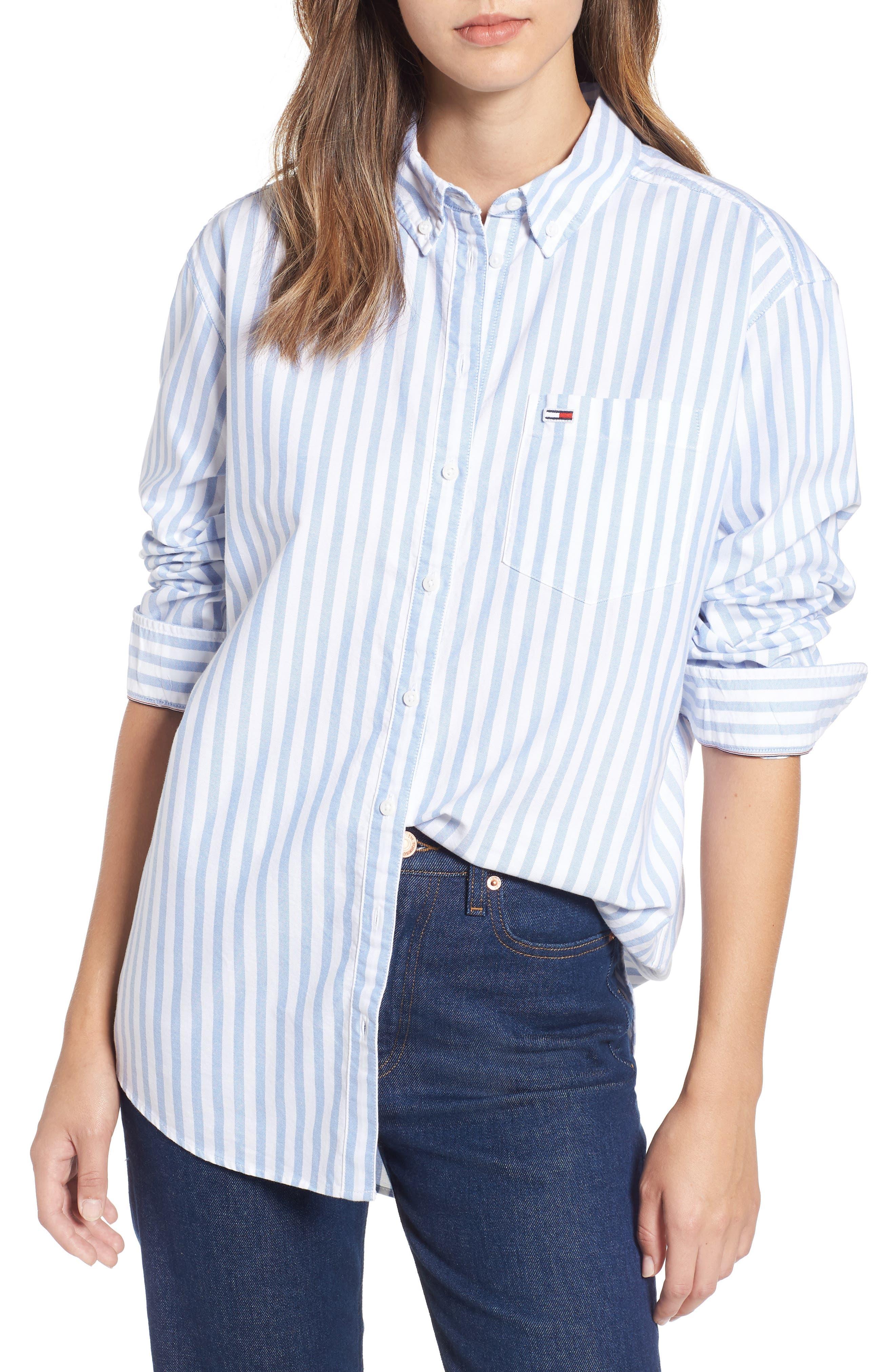 TJW Classics Stripe Shirt,                         Main,                         color, BRIGHT WHITE / LIGHT BLUE