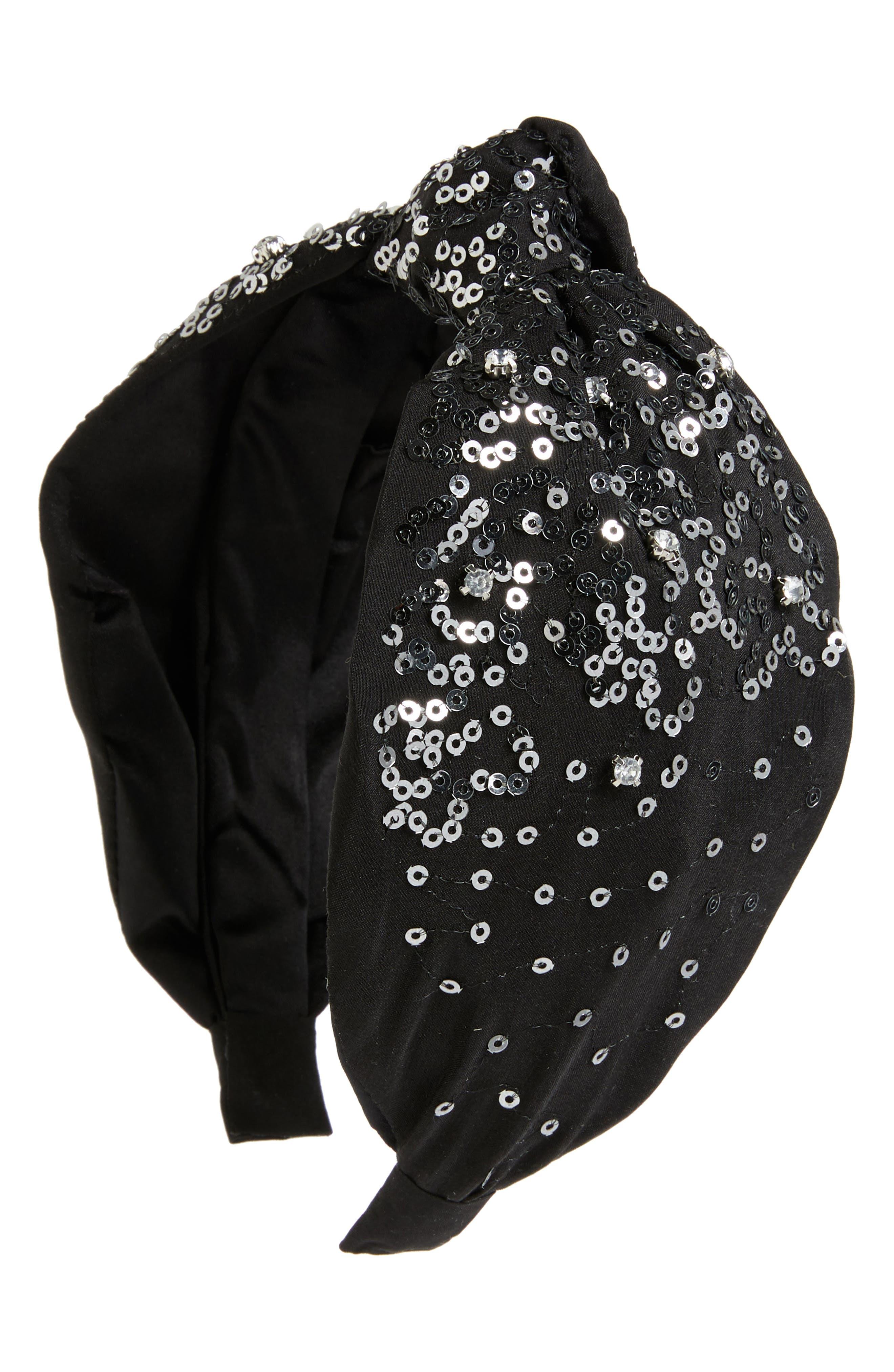Jeweled Silk Headband,                             Main thumbnail 1, color,                             BLACK