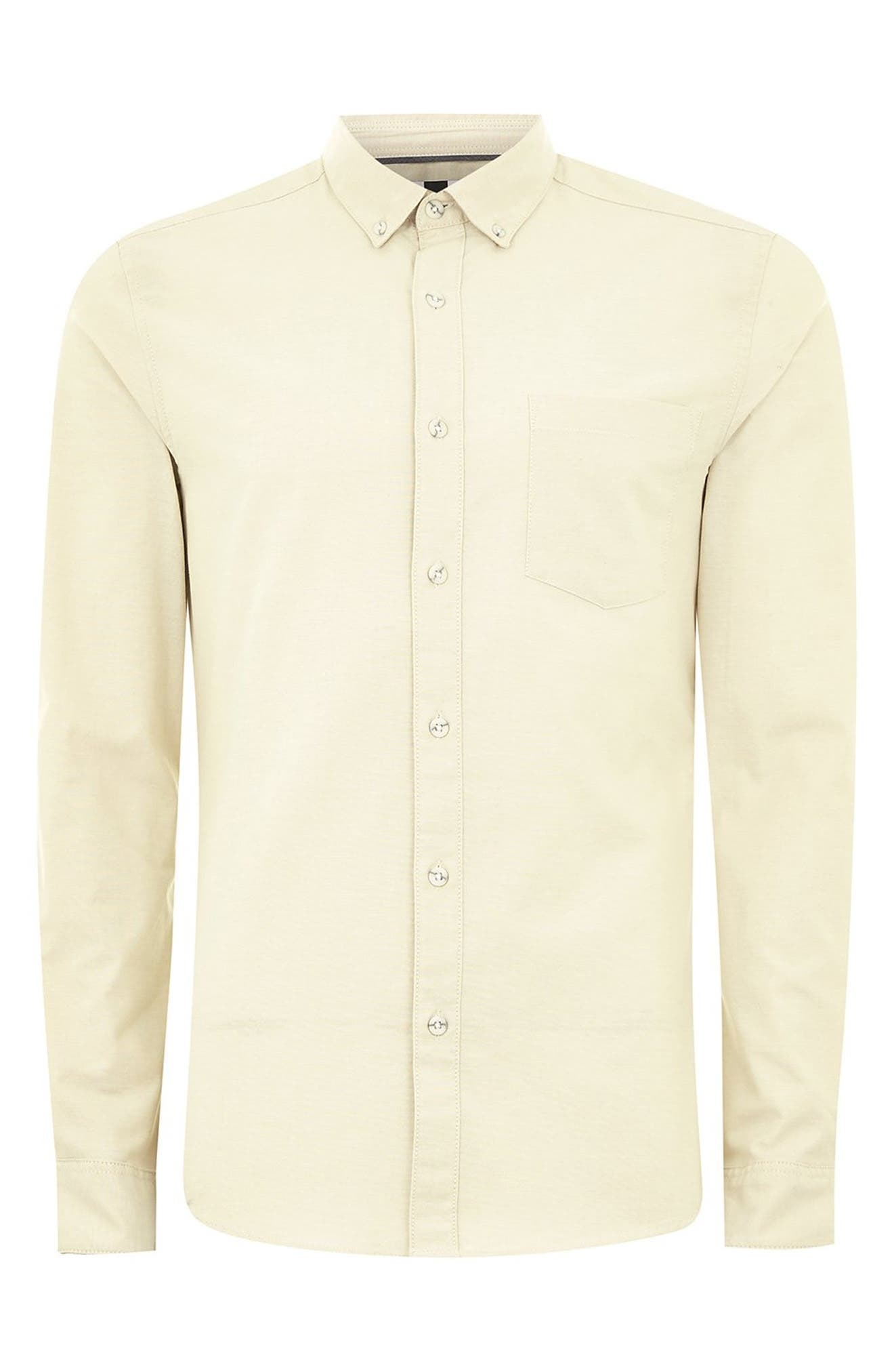 Muscle Fit Stripe Oxford Shirt,                             Alternate thumbnail 4, color,                             STONE