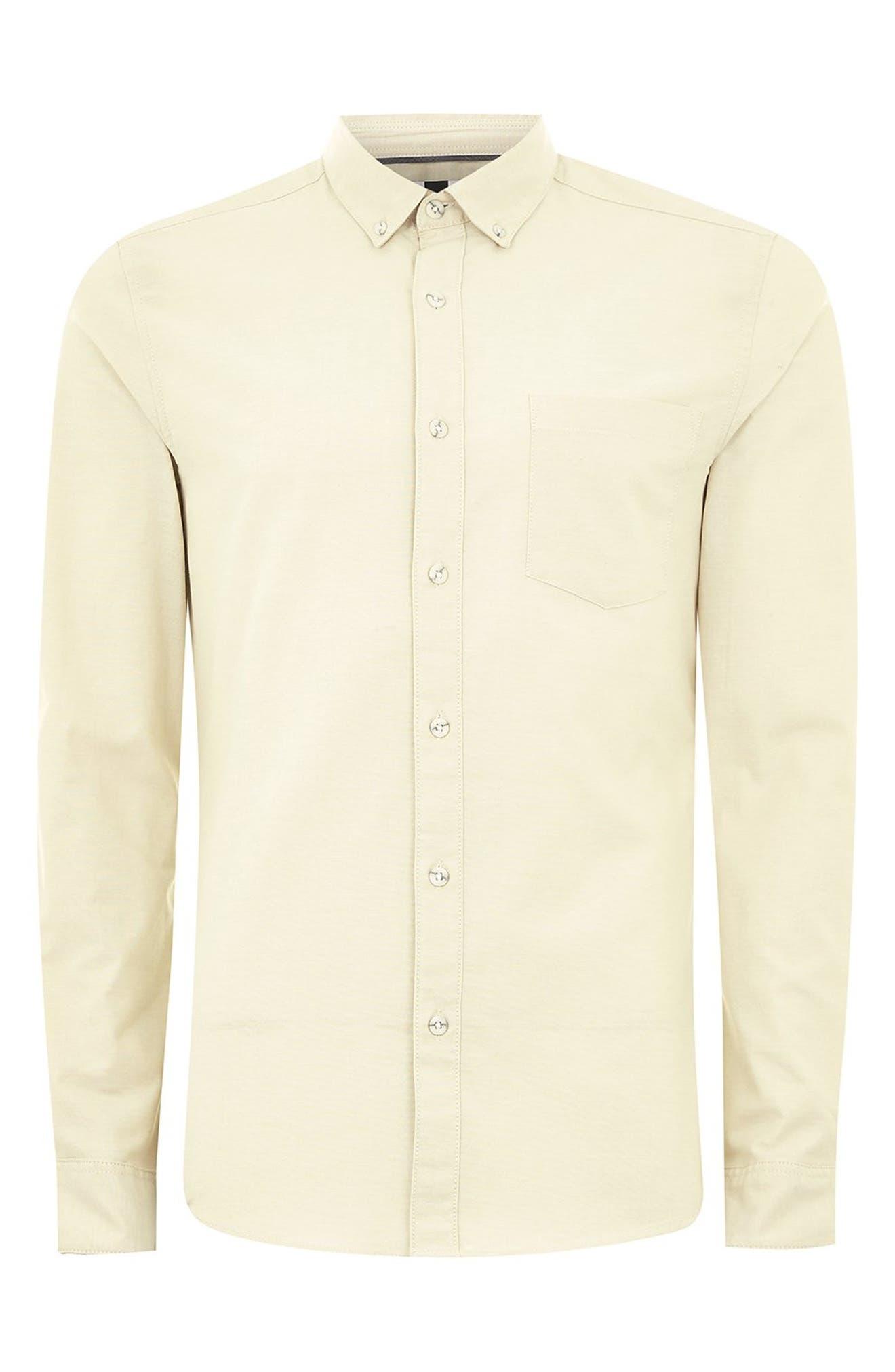 TOPMAN,                             Muscle Fit Stripe Oxford Shirt,                             Alternate thumbnail 4, color,                             250