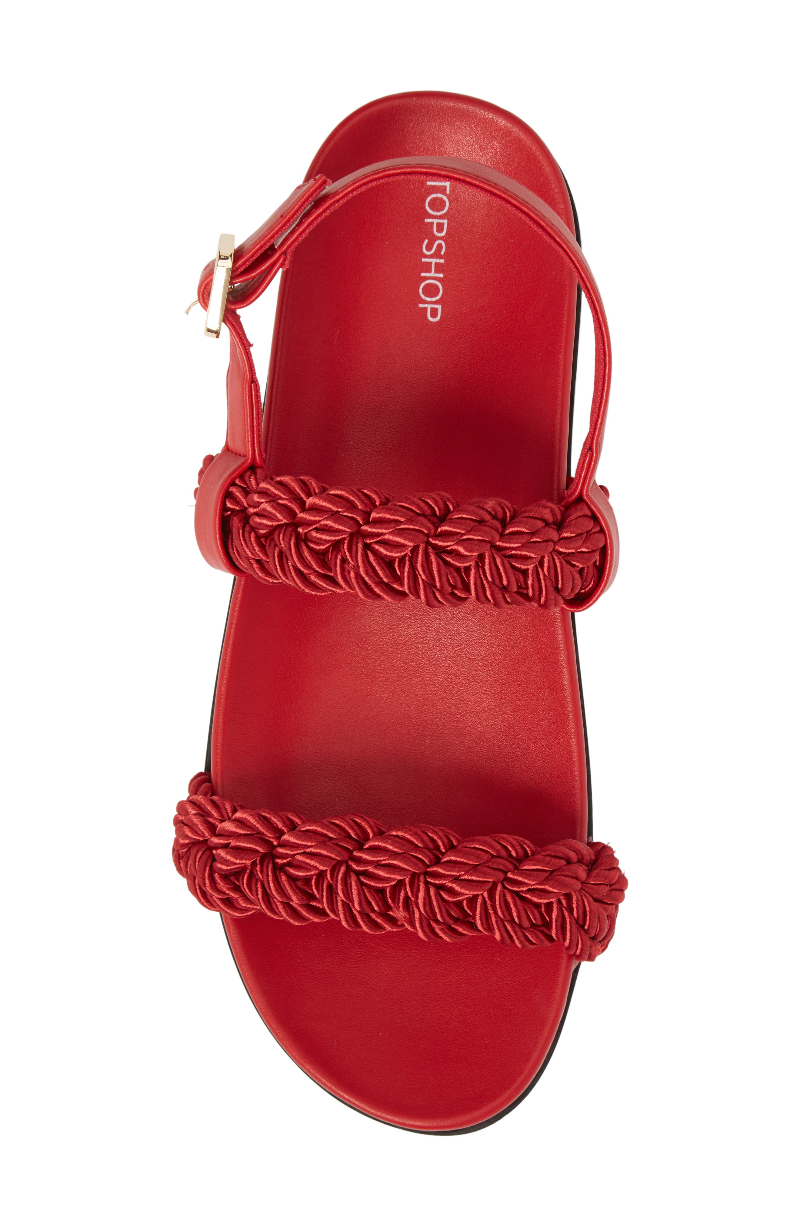 Hackney Rope Footbed Sandals,                             Alternate thumbnail 5, color,                             RED