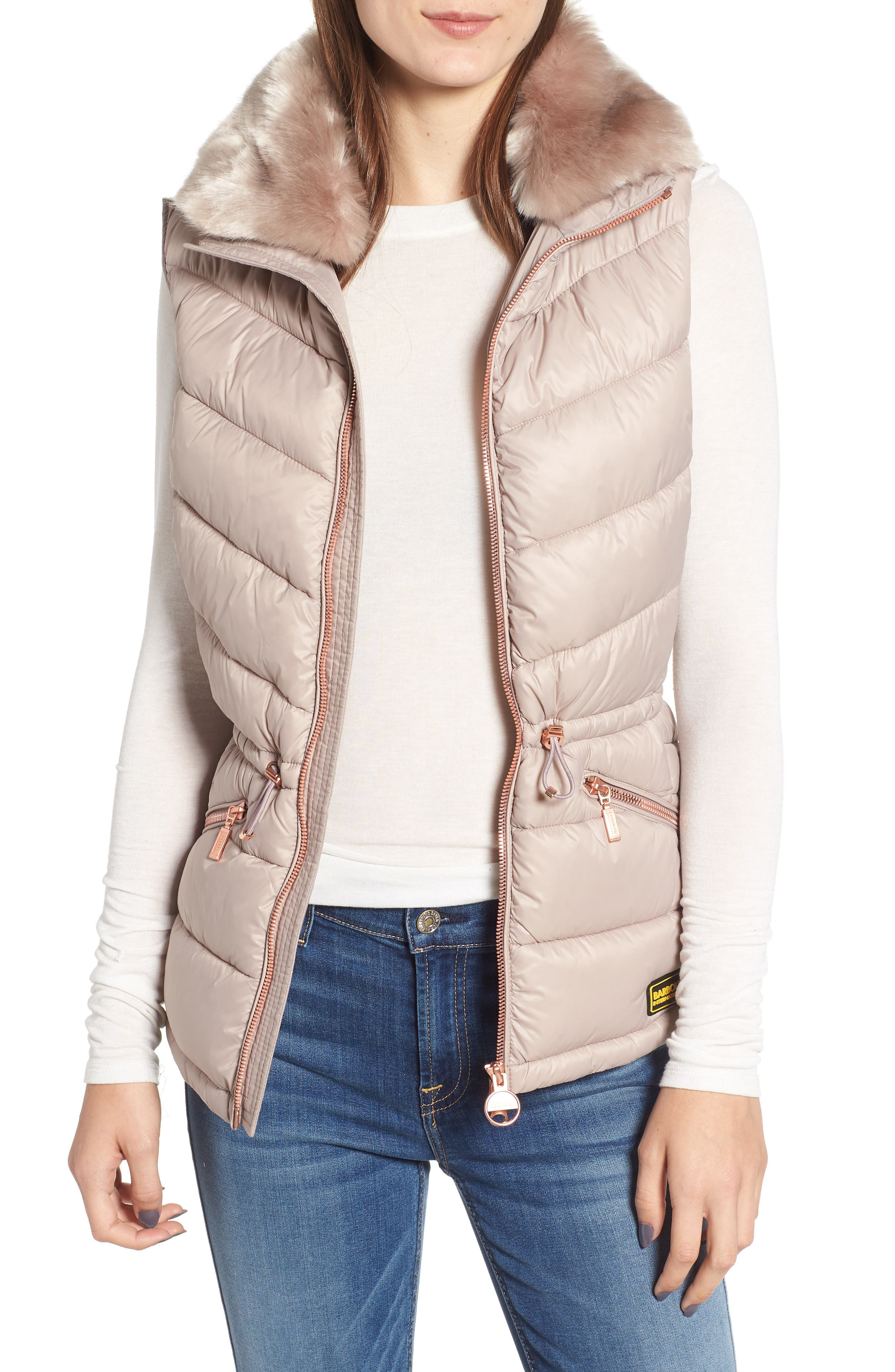 Victory Cinch Waist Chevron Quilted Gilet with Removable Faux Fur Collar,                         Main,                         color, LATTE