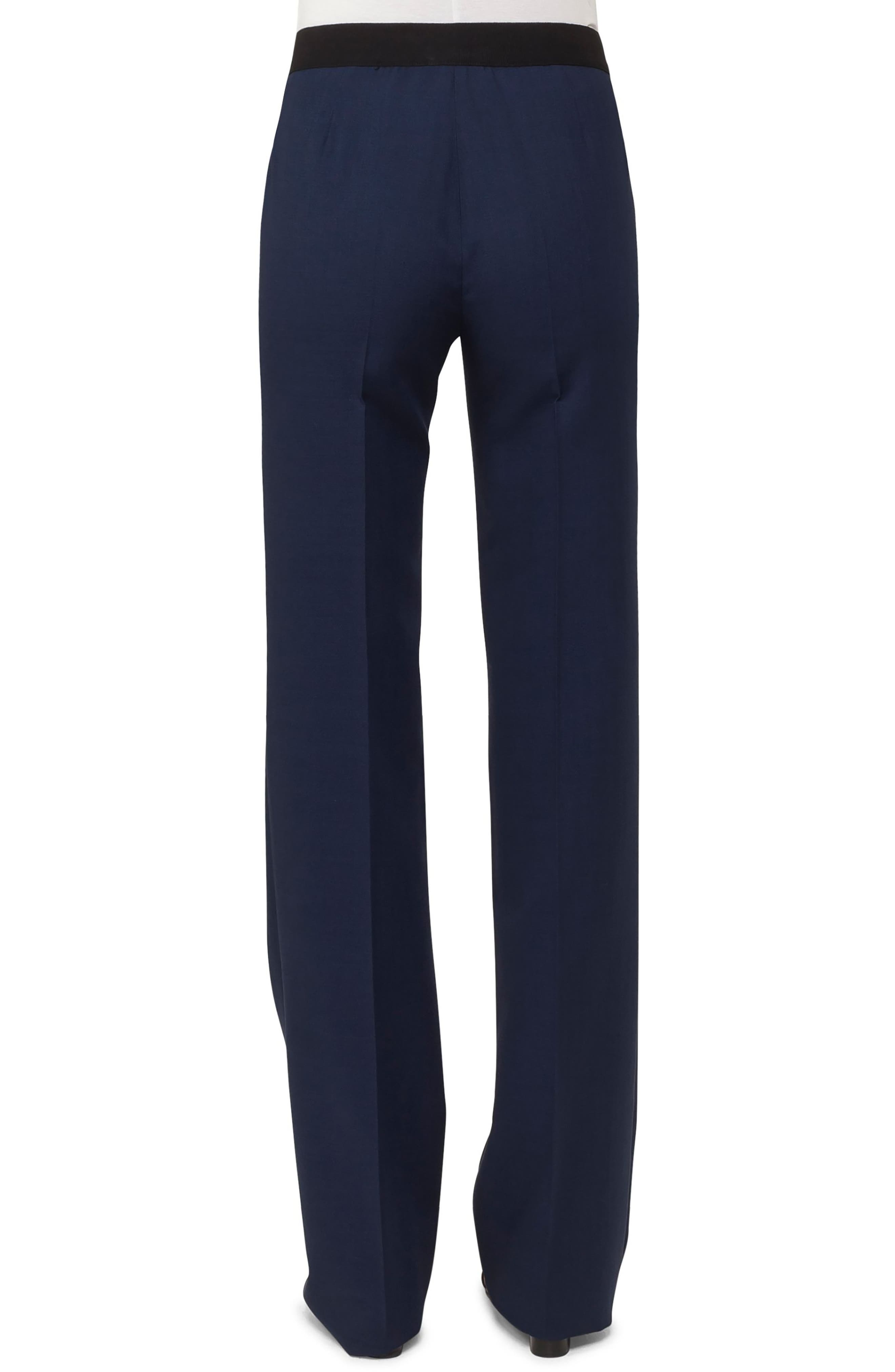 AKRIS,                             Carl Double Face Stretch Wool & Silk Trousers,                             Alternate thumbnail 2, color,                             DENIM BLACK