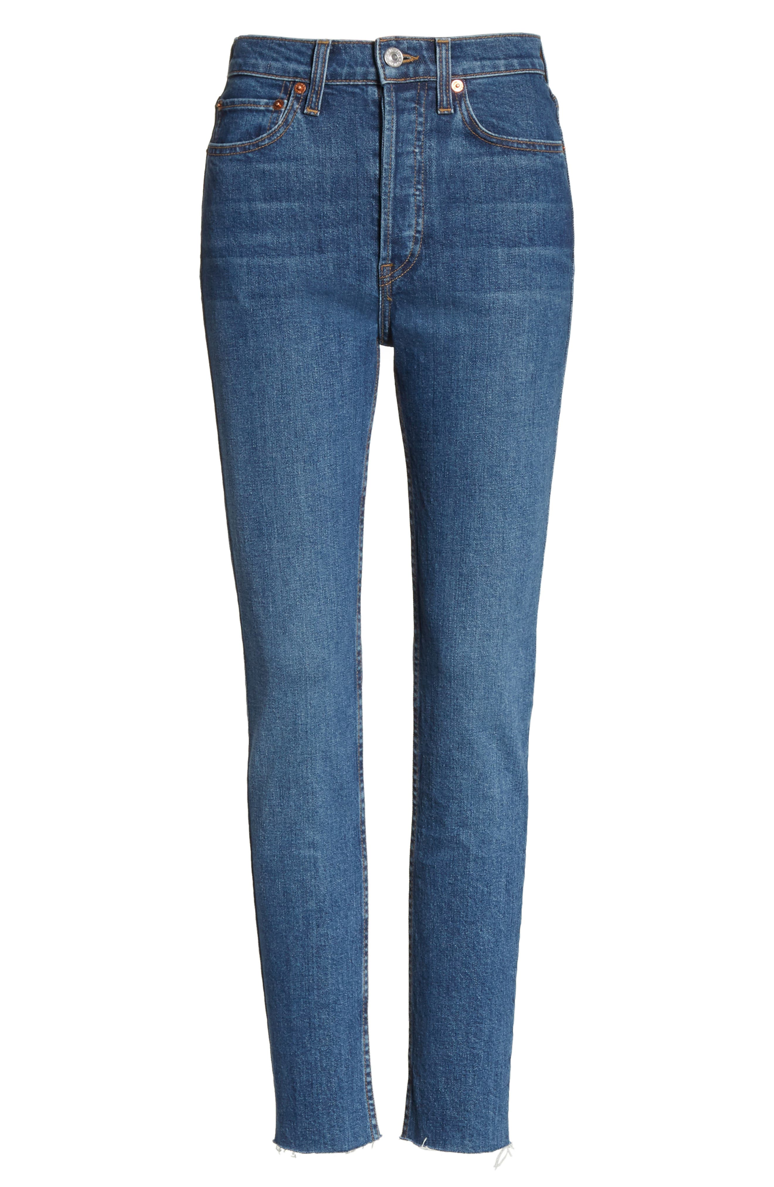 High Waist Stretch Crop Jeans,                             Alternate thumbnail 6, color,                             FOREVER RINSE