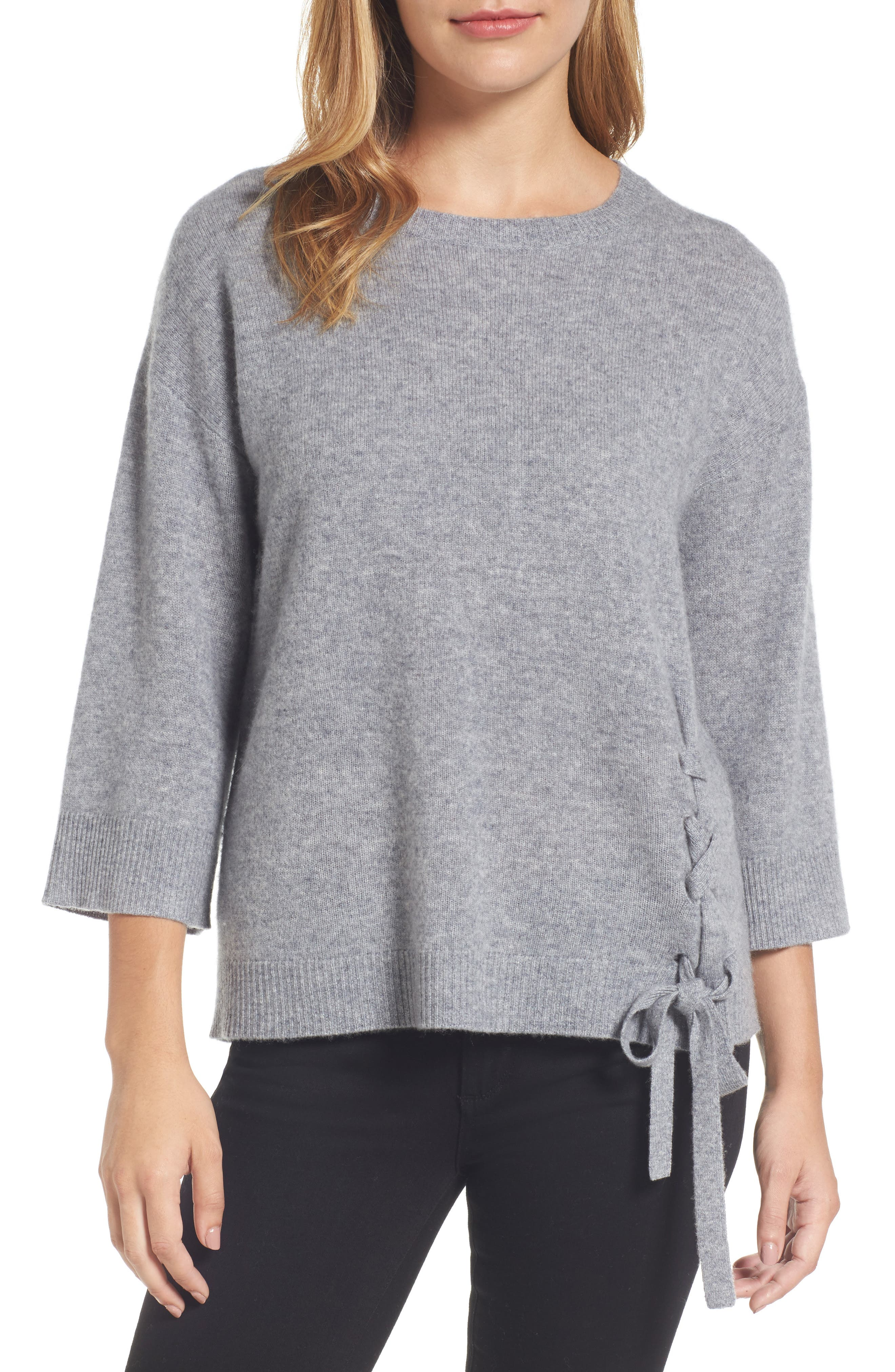 Side Tie Wool and Cashmere Sweater,                             Main thumbnail 2, color,