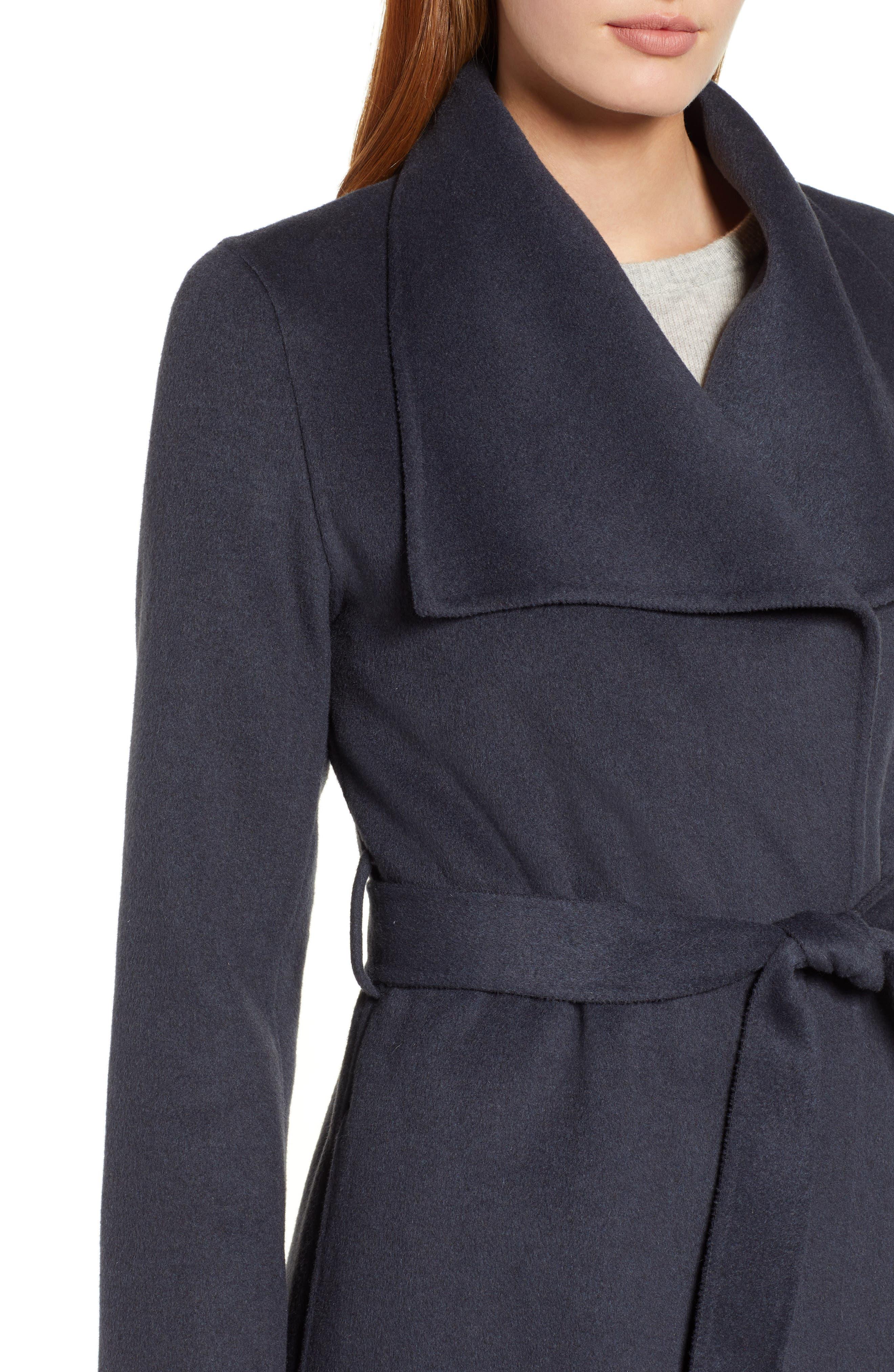 Ellie Double Face Wool Blend Wrap Coat,                             Alternate thumbnail 4, color,                             020