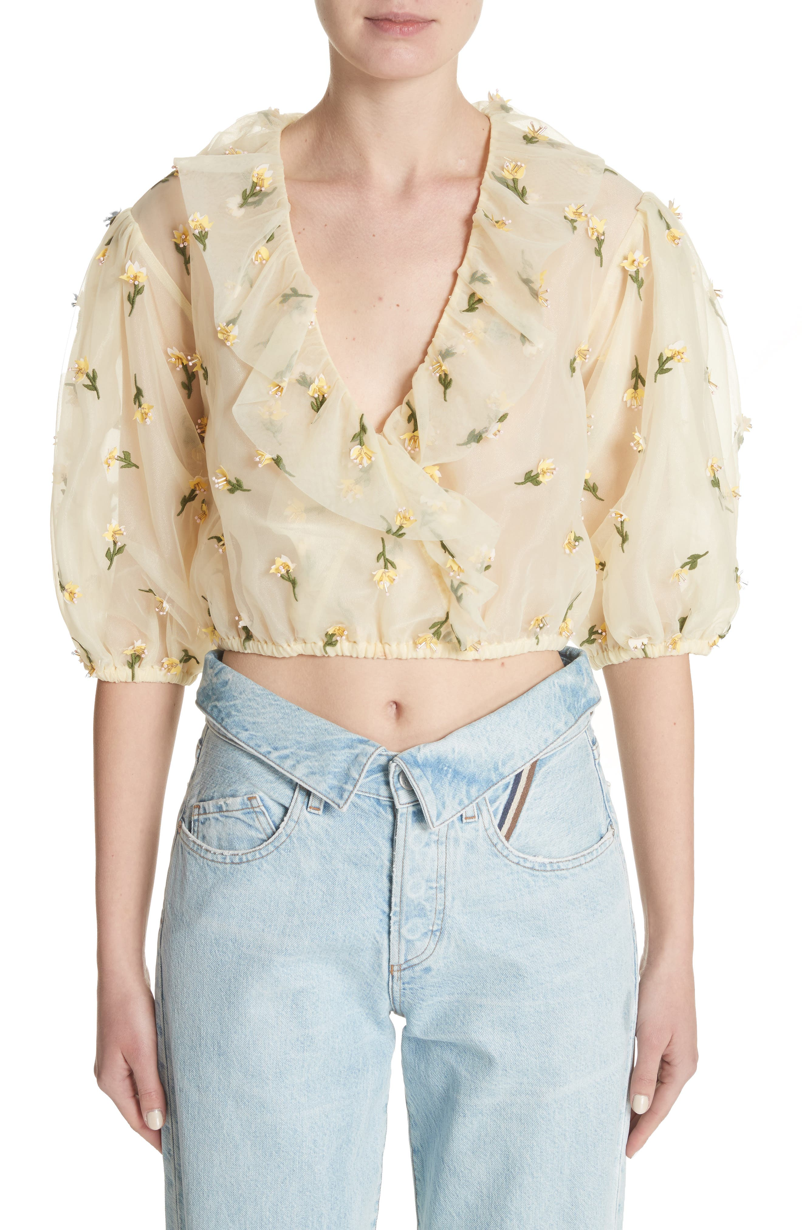 Bliss Embroidered Floral Wrap Top,                             Main thumbnail 1, color,