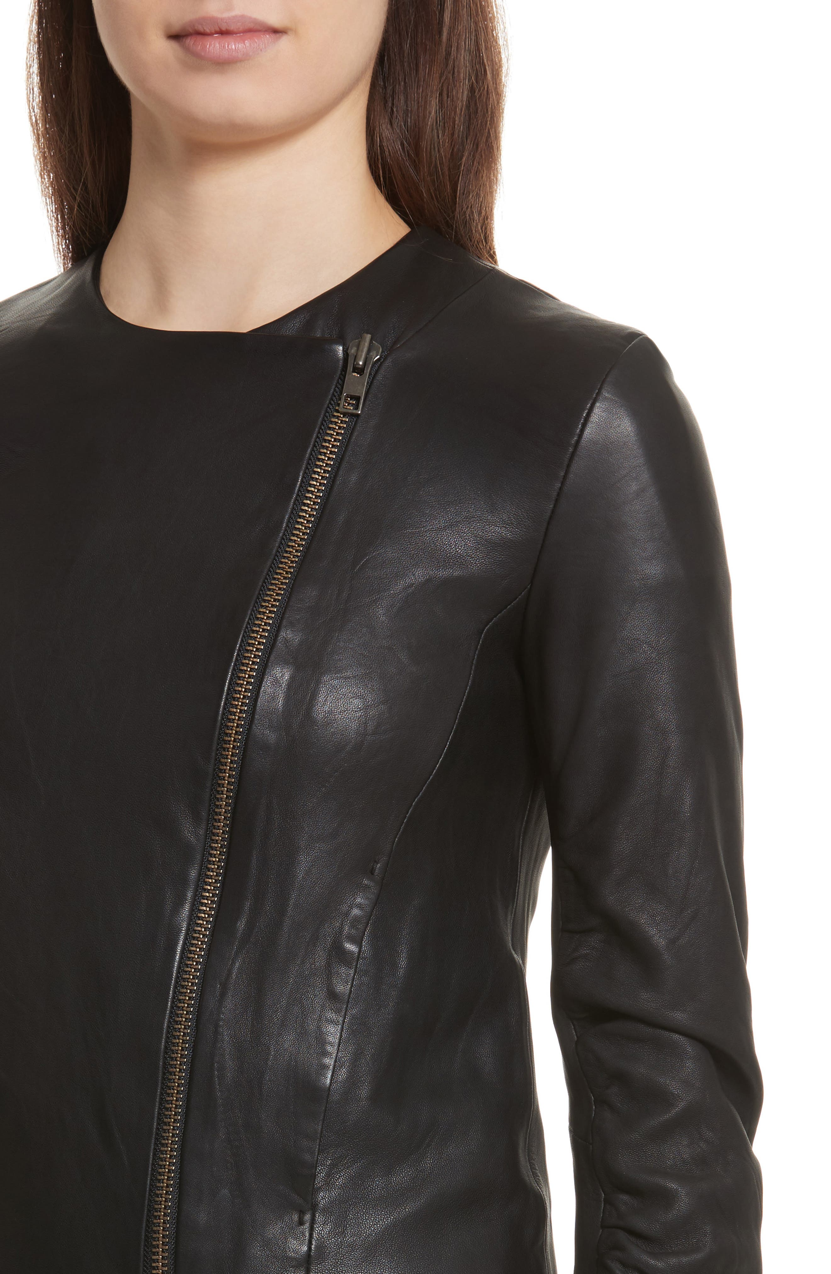 Cross Front Leather Jacket,                             Alternate thumbnail 4, color,                             BLACK