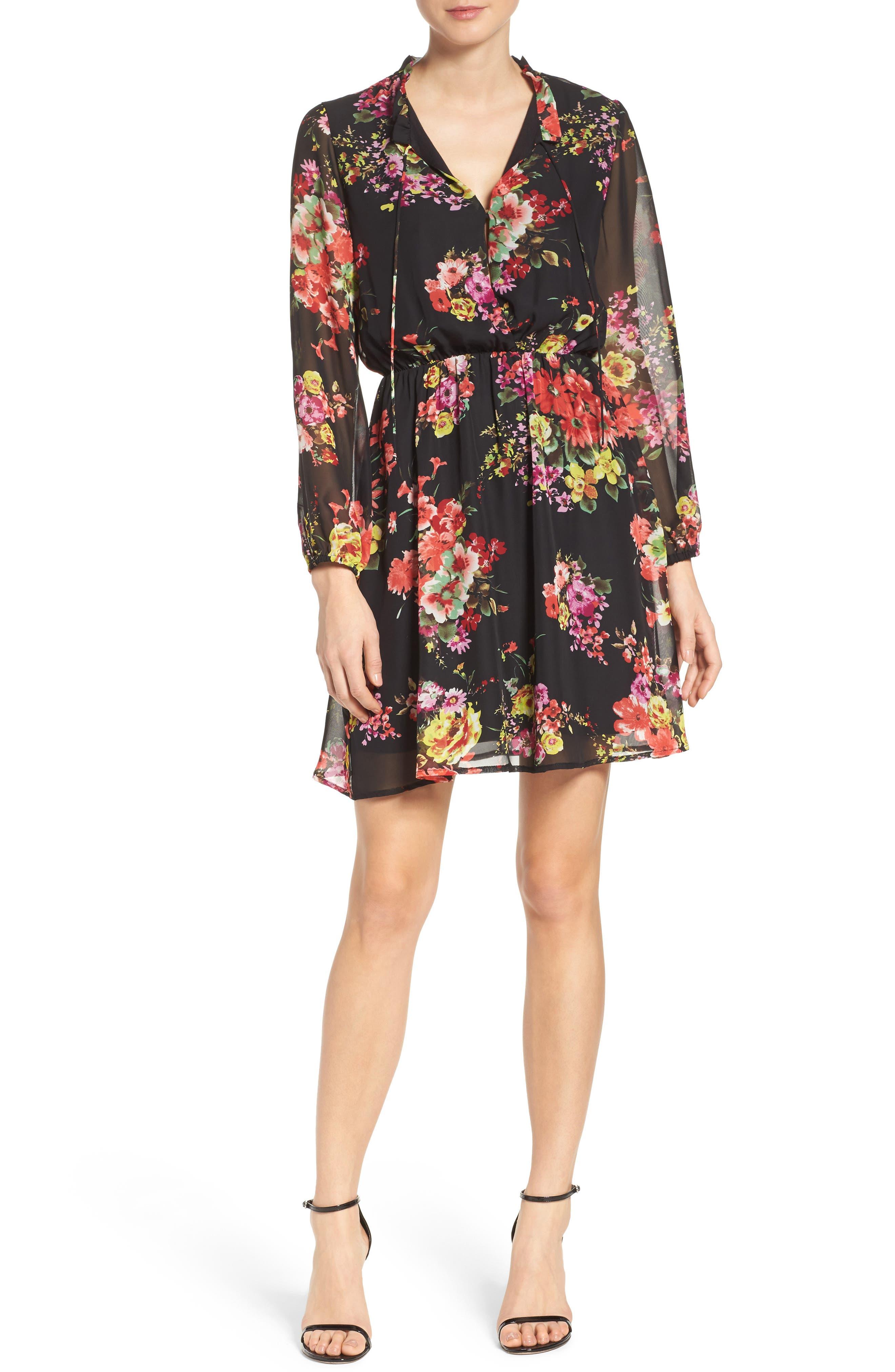 Floral Chiffon A-Line Dress,                             Alternate thumbnail 5, color,                             001
