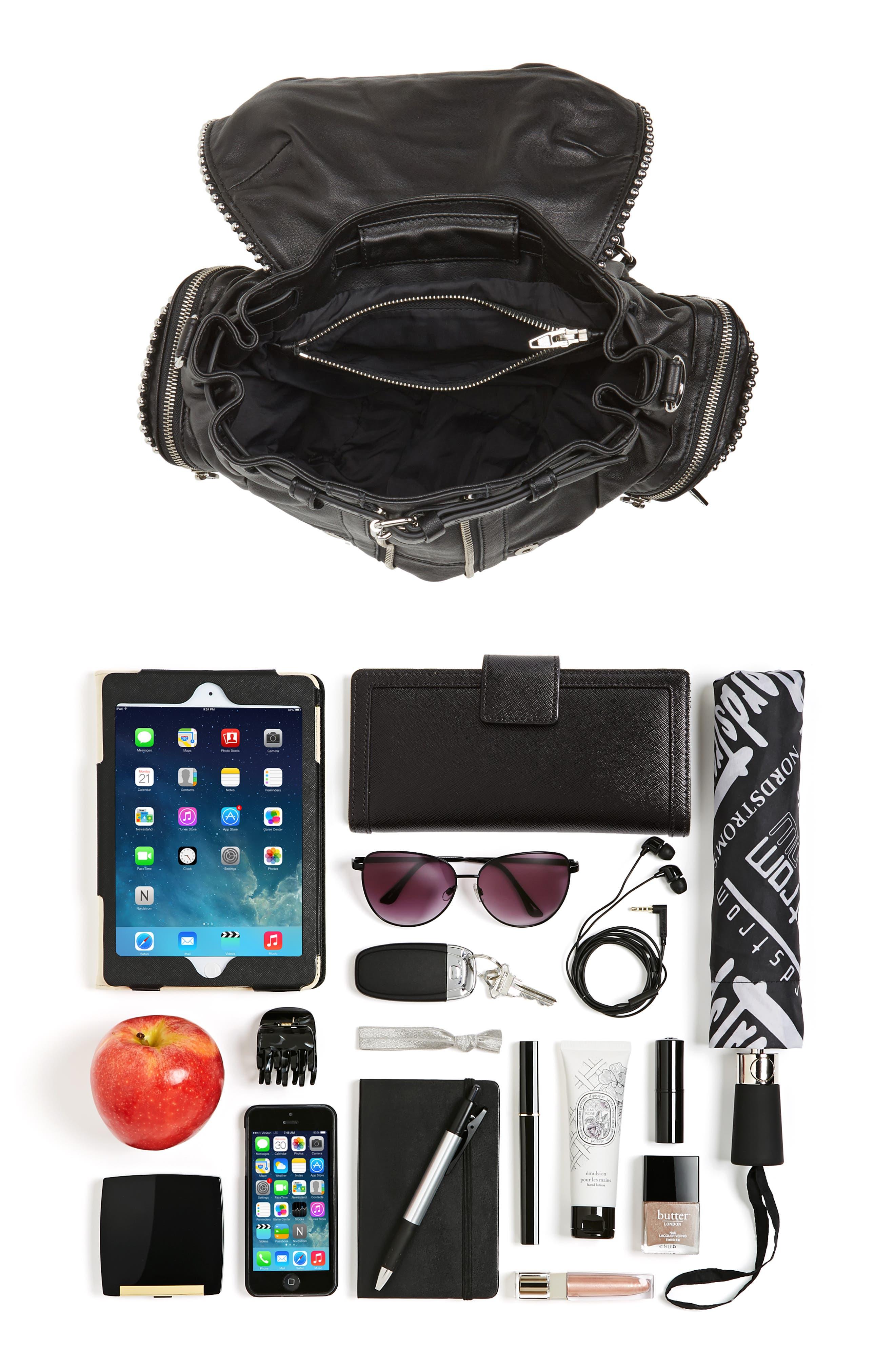 Mini Marti Ball Stud Leather Backpack,                             Alternate thumbnail 7, color,                             001