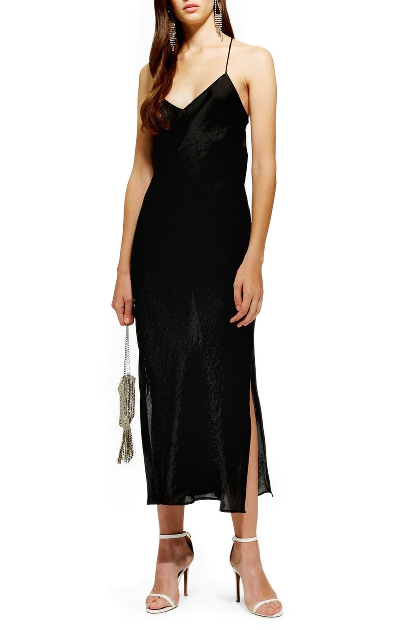 Petite Topshop Satin Slipdress, P US (fits like 10-12P) - Black