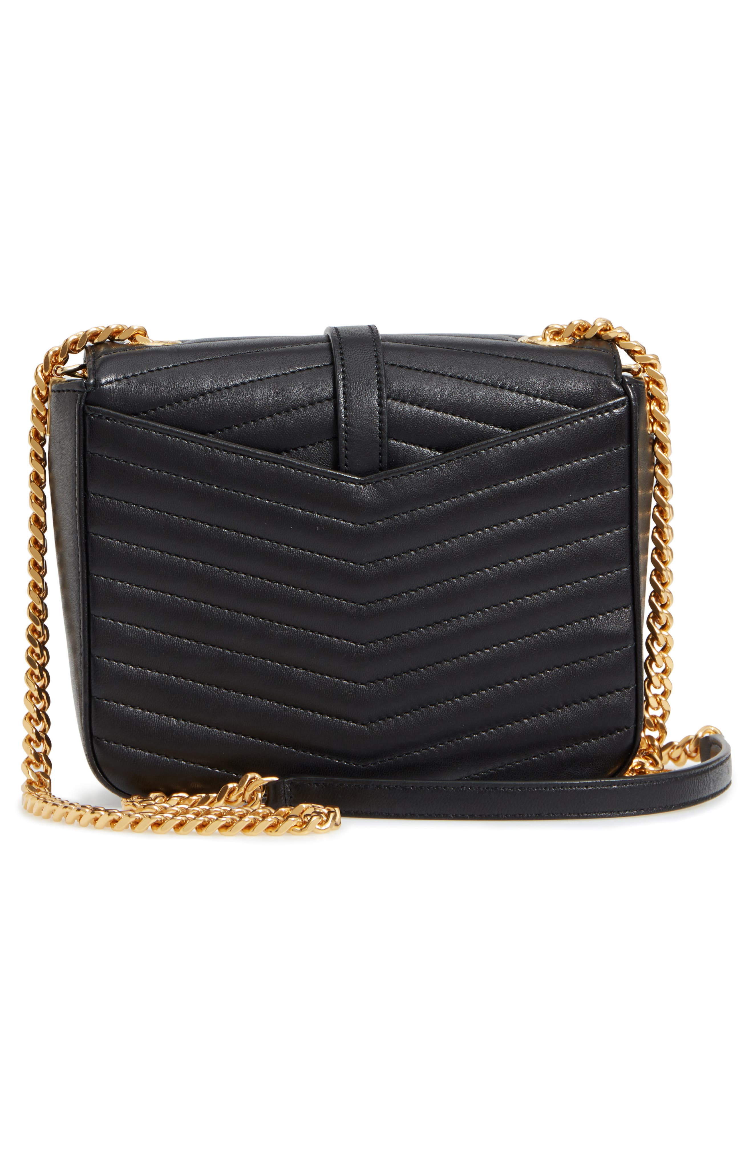 Montaigne Quilted Lambskin Crossbody Bag,                             Alternate thumbnail 3, color,                             NERO