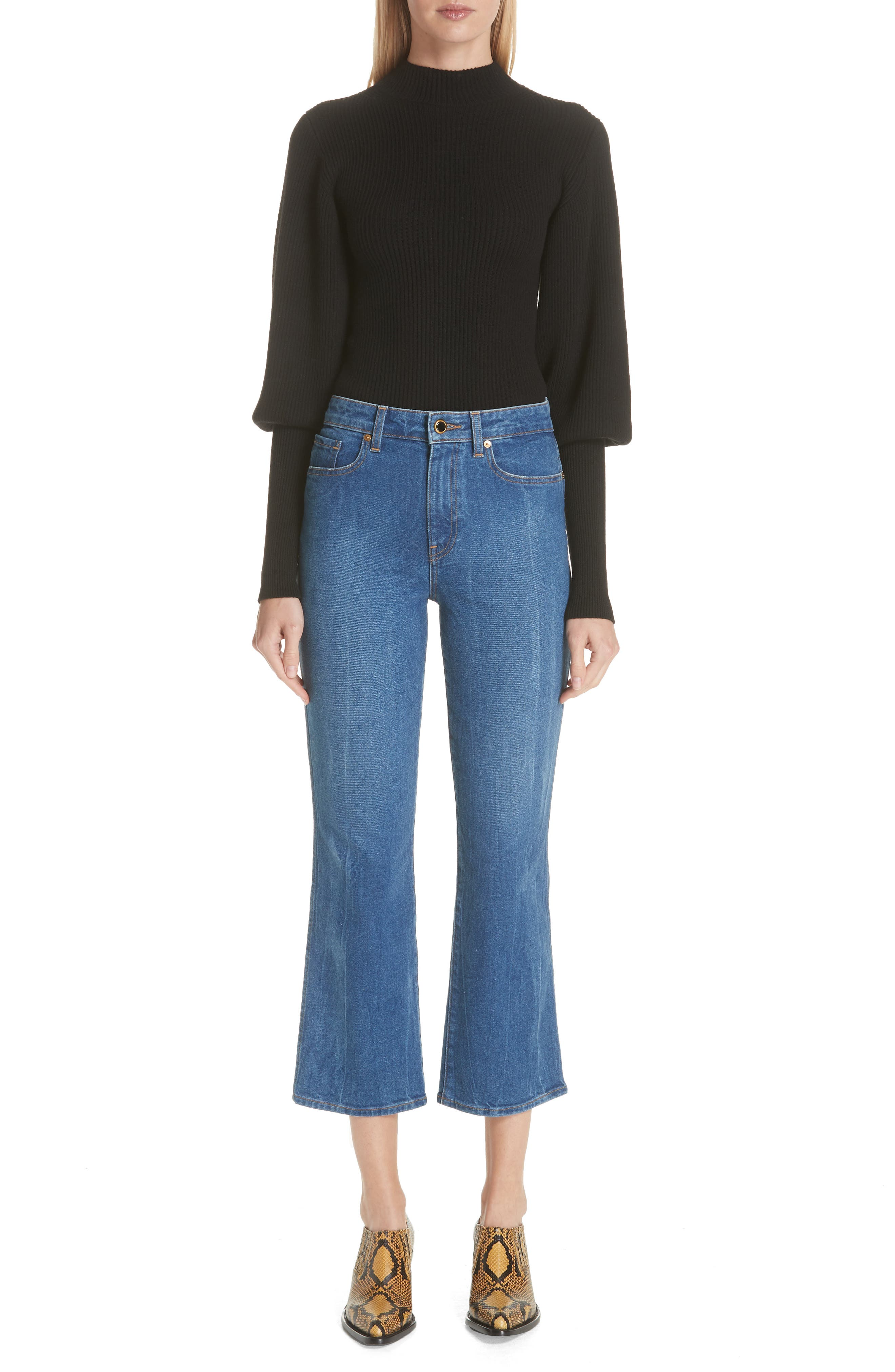 Benny Crop Flare Jeans,                             Alternate thumbnail 8, color,                             VINTAGE WASH