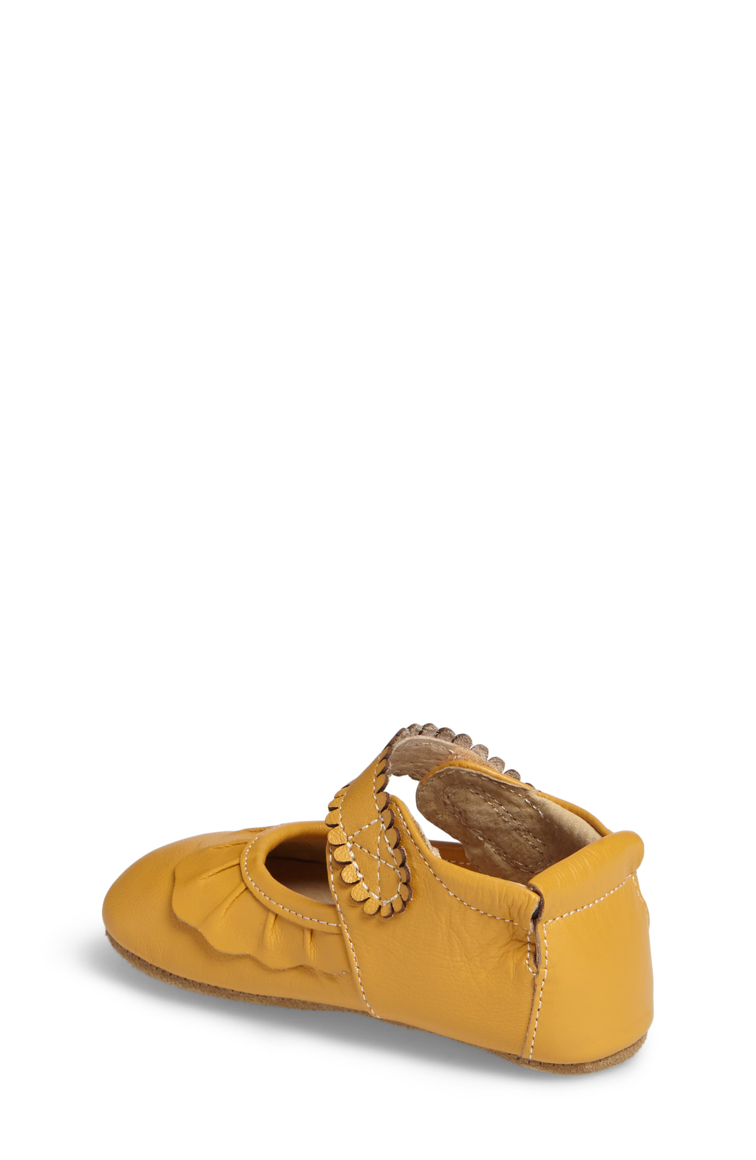 'Ruche' Mary Jane Crib Shoe,                             Alternate thumbnail 2, color,                             BUTTERSCOTCH LEATHER