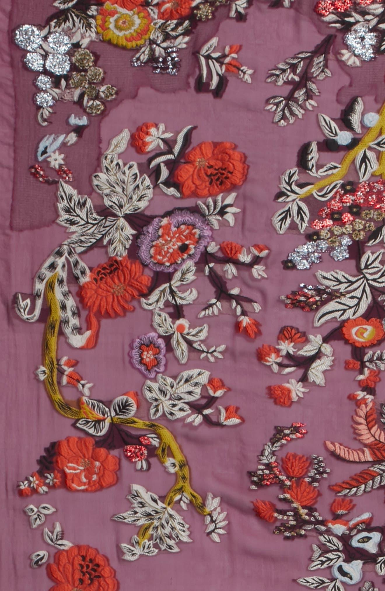 Maharaja Embroidered Wrap Scarf,                             Alternate thumbnail 4, color,                             PURPLE MULTI
