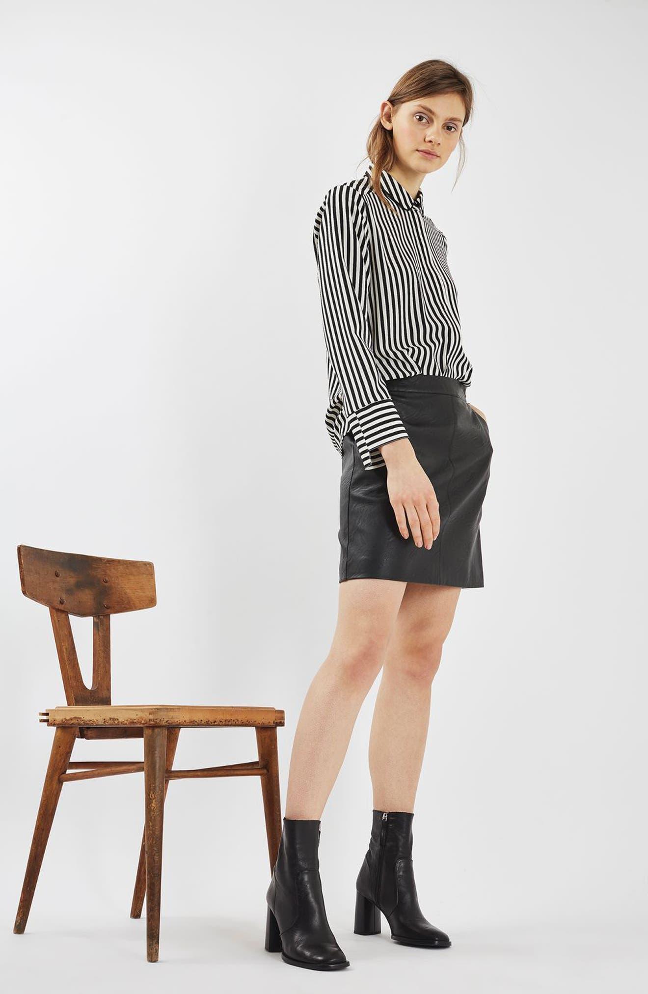 Faux Leather Pencil Skirt,                             Alternate thumbnail 5, color,                             001