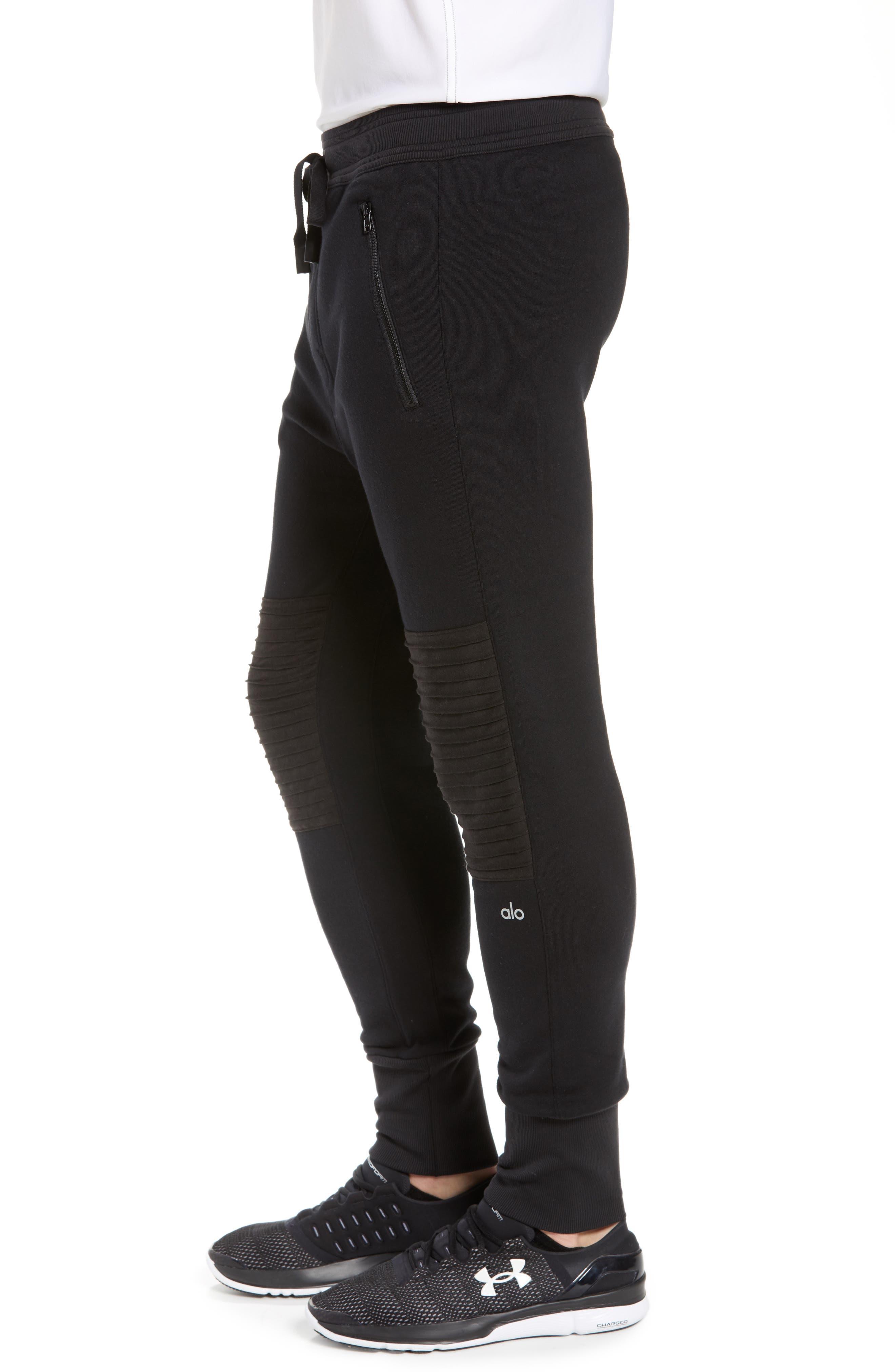 Moto Jogger Pants,                             Alternate thumbnail 3, color,                             SOLID BLACK
