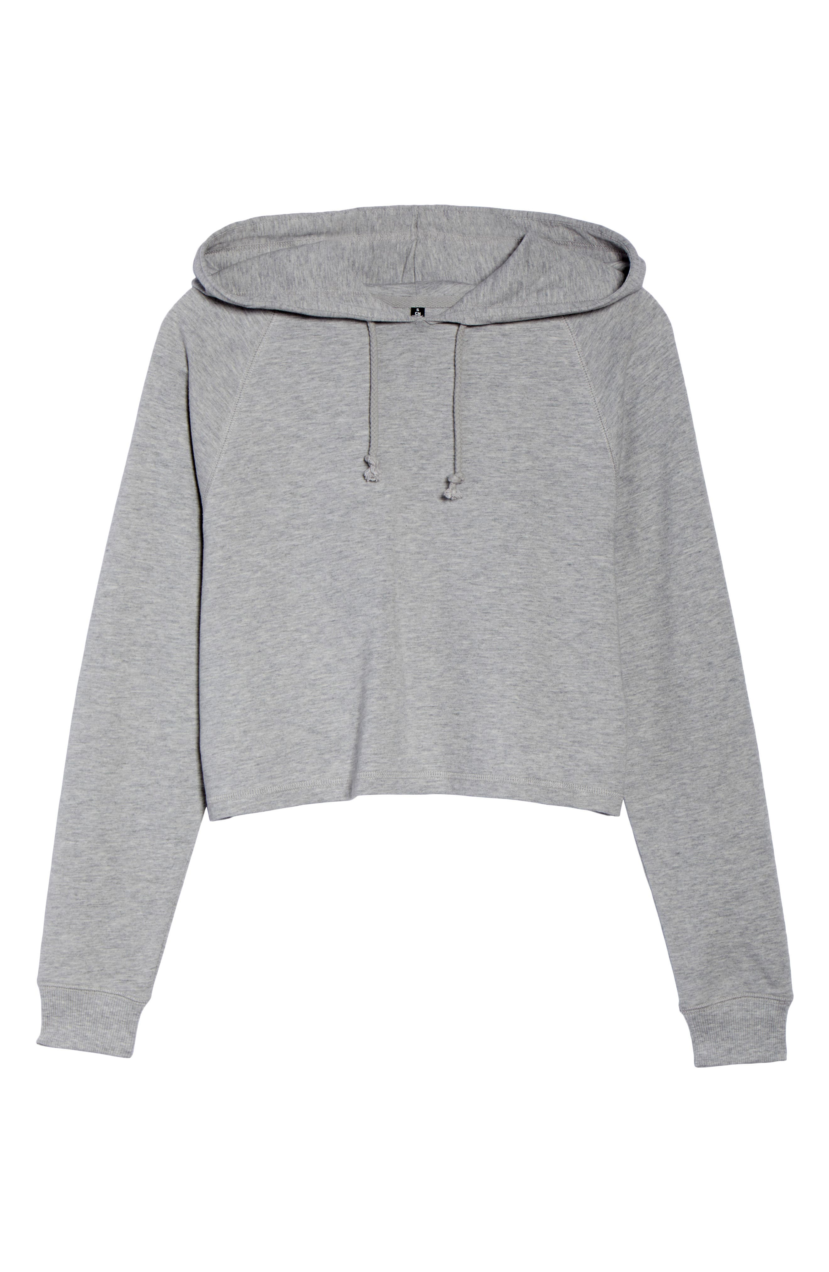 French Terry Crop Hoodie,                             Alternate thumbnail 12, color,