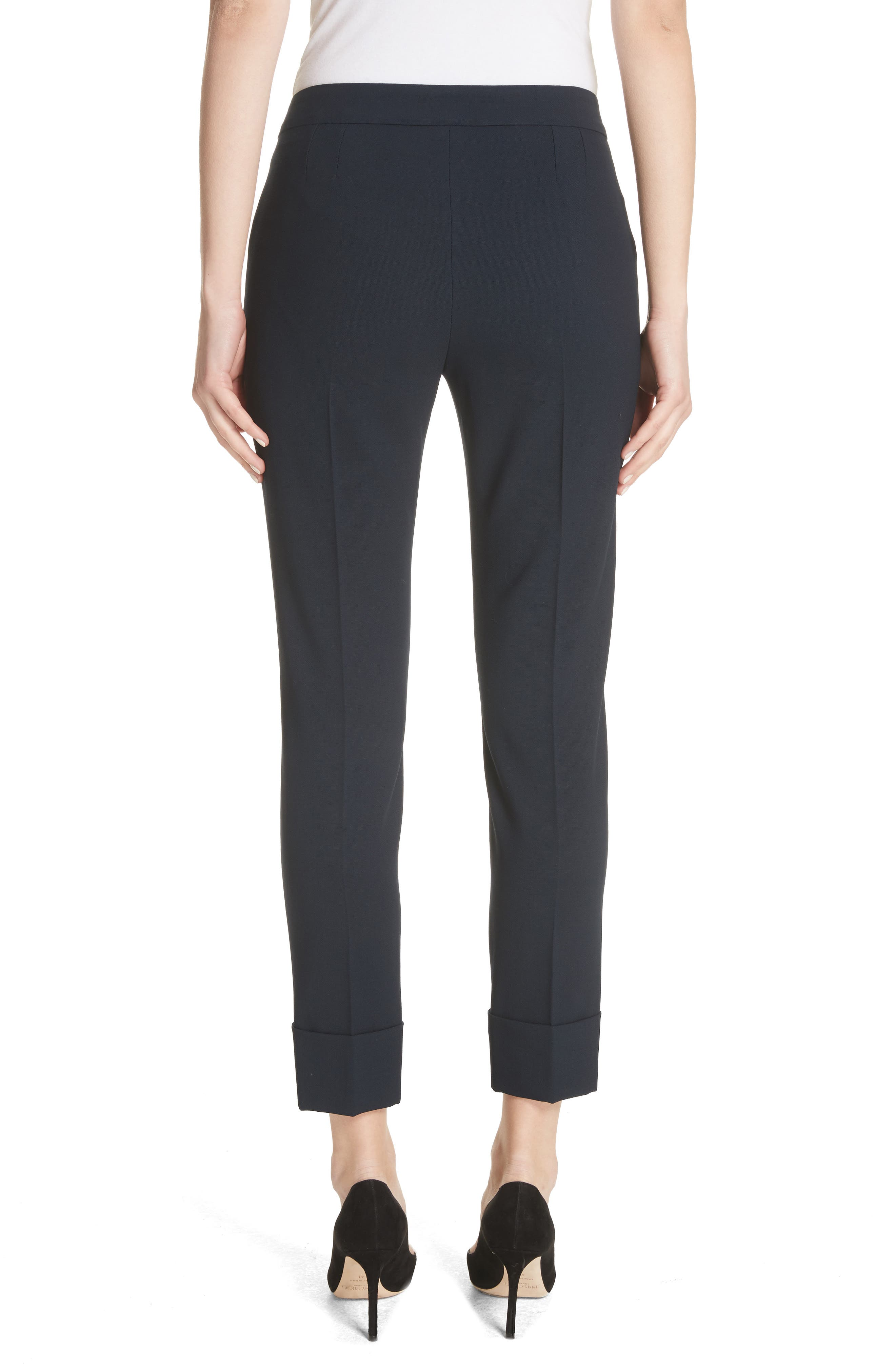 Stretch Wool Crepe Cuffed Pants,                             Alternate thumbnail 2, color,                             403