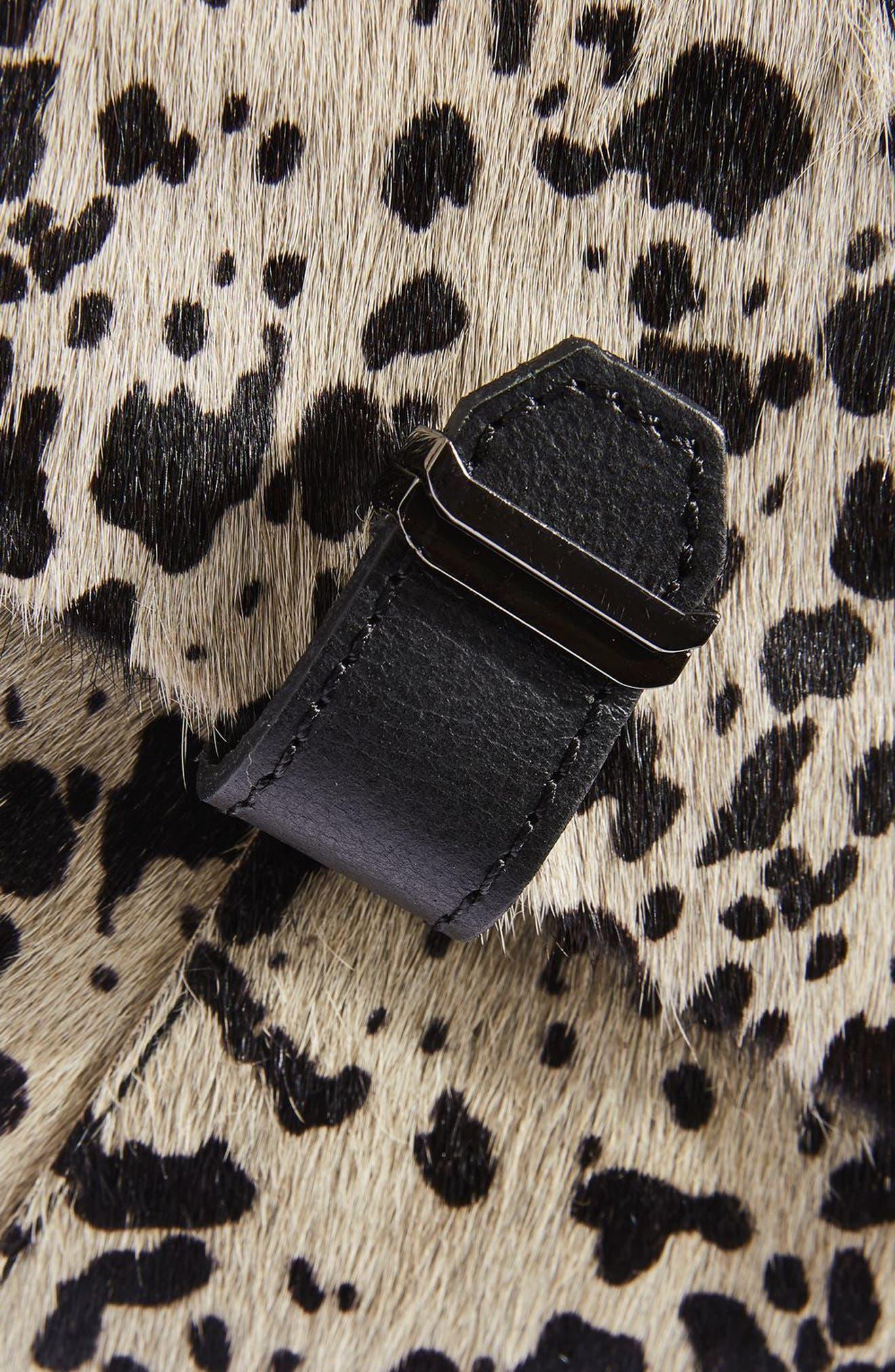 TOPSHOP,                             Premium Leather & Genuine Calf Hair Backpack,                             Alternate thumbnail 3, color,                             100