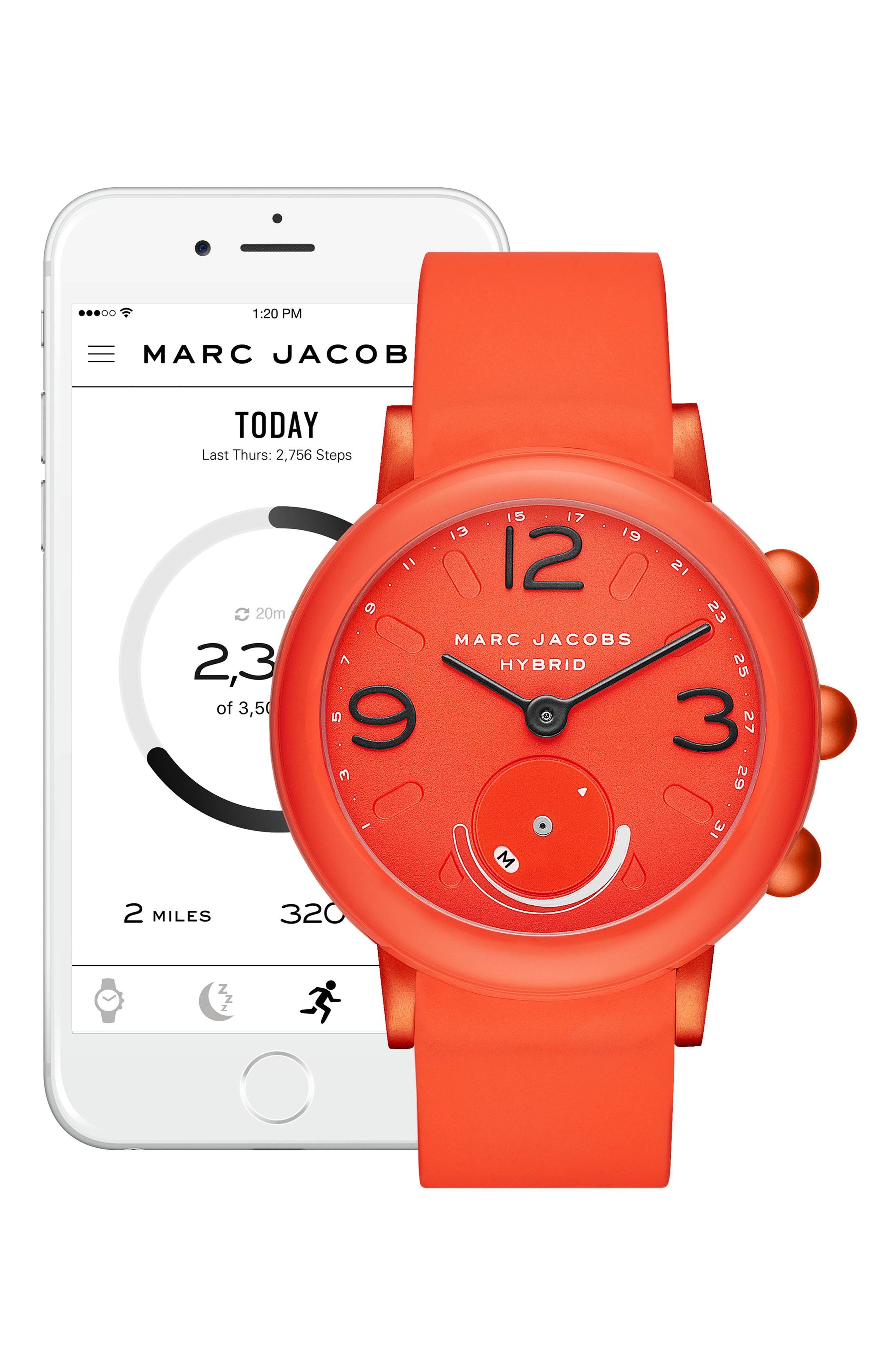 Riley Hybrid Rubber Strap Smart Watch, 44mm,                             Alternate thumbnail 4, color,                             CORAL