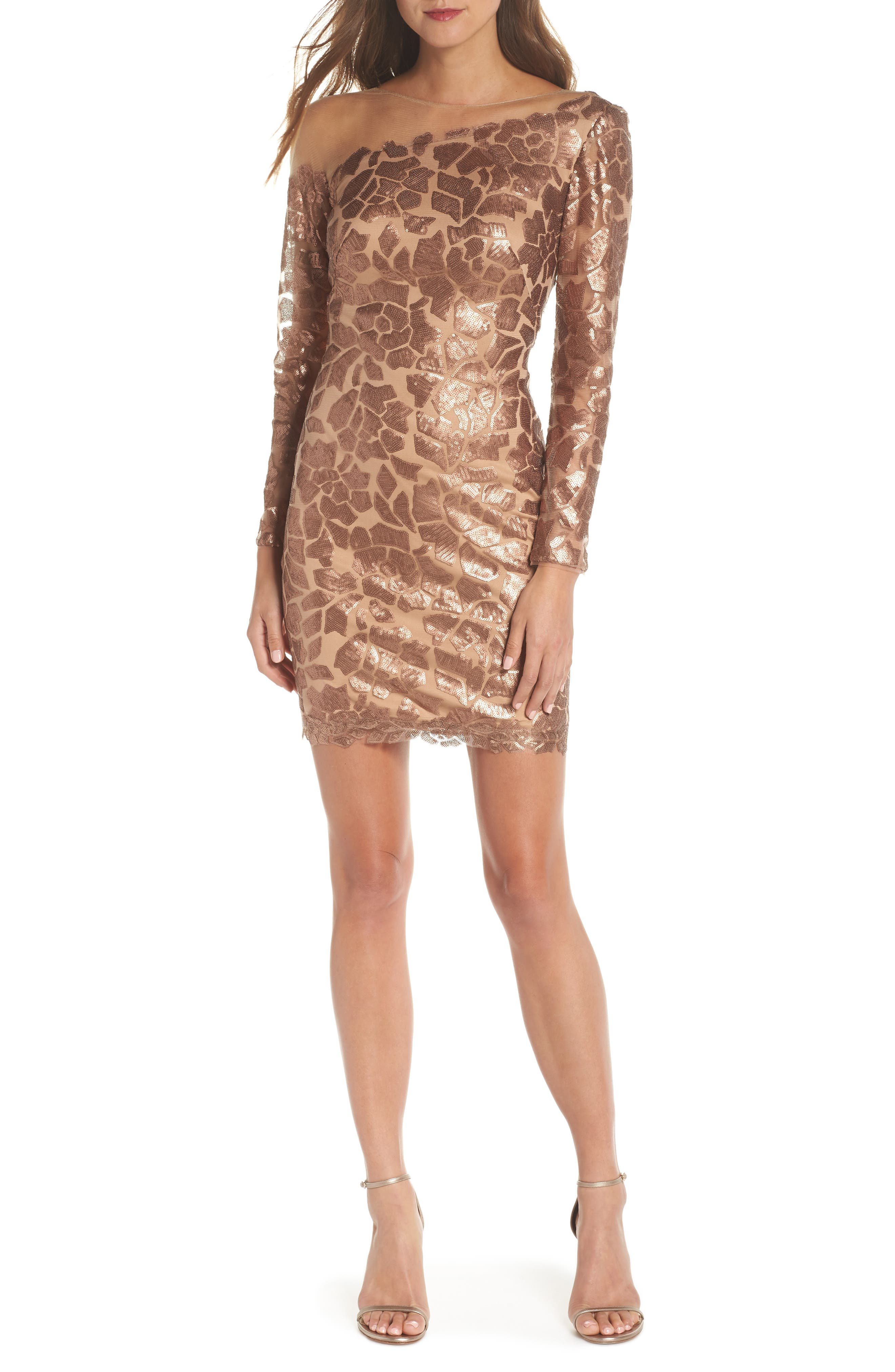 Tadashi Shoji Sequin Illusion Body-Con Dress, Metallic