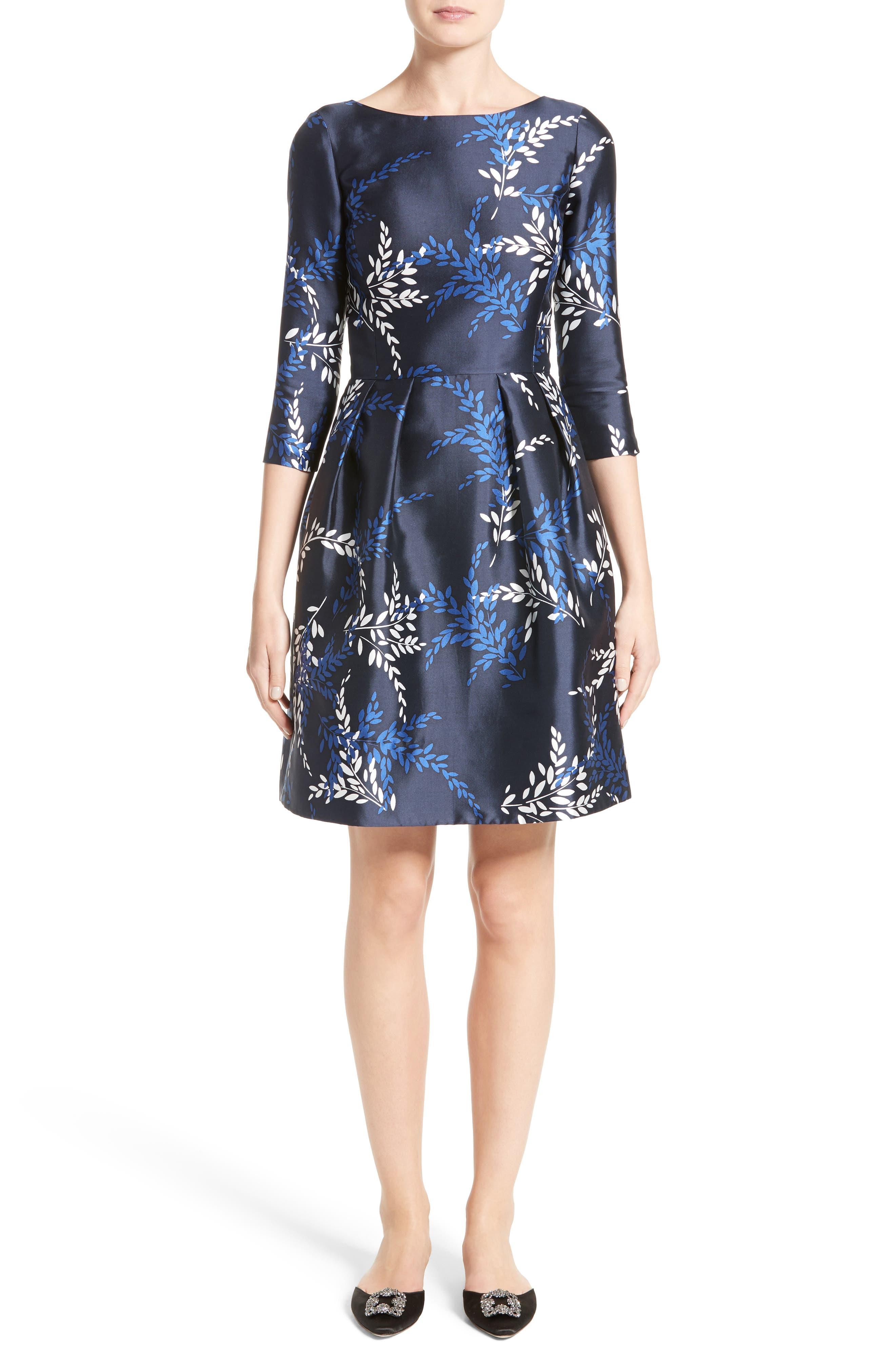 Leaf Print Silk & Cotton Dress,                             Alternate thumbnail 5, color,                             415