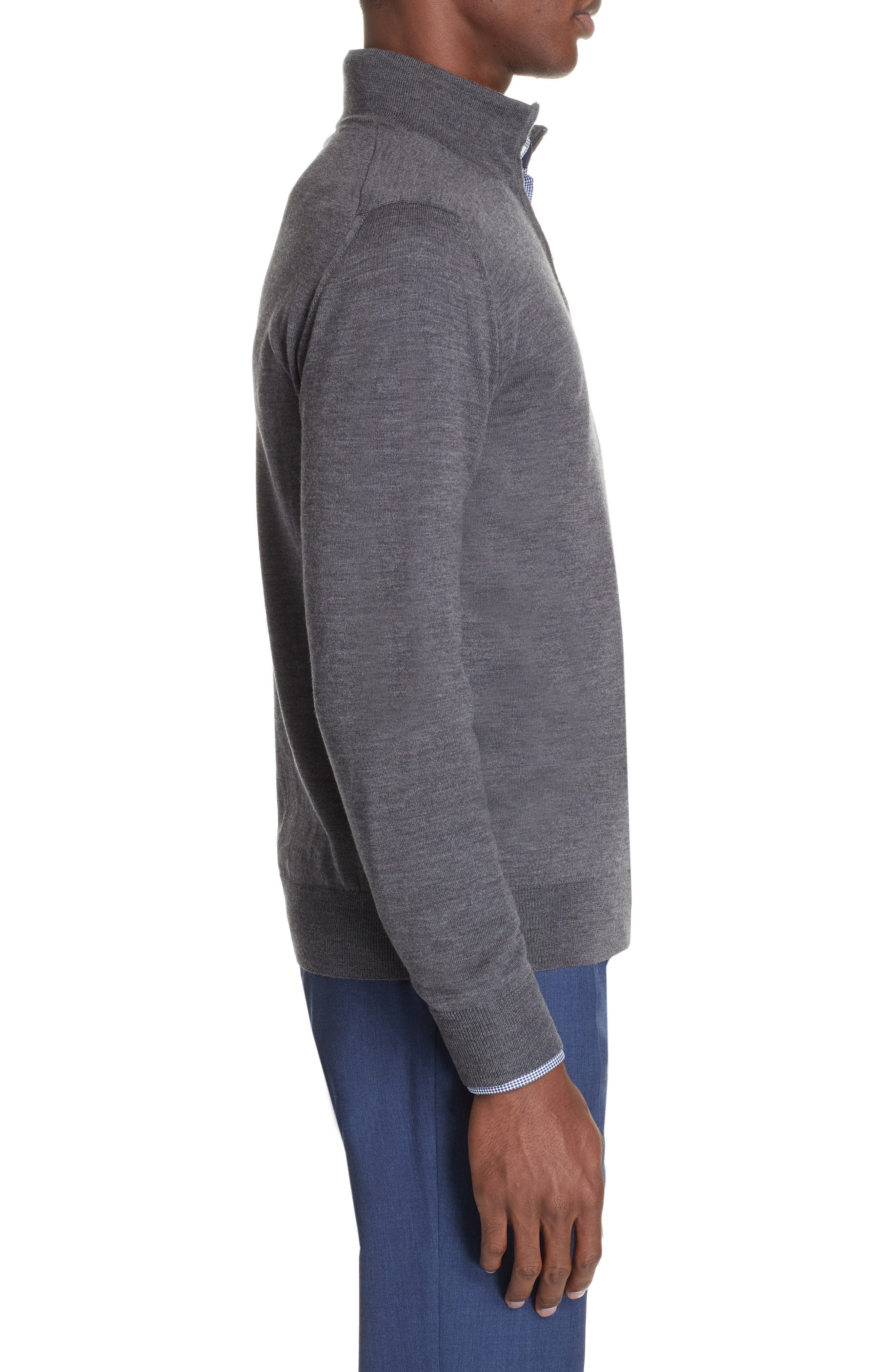 Wool Quarter Zip Pullover,                             Alternate thumbnail 3, color,                             CHARCOAL
