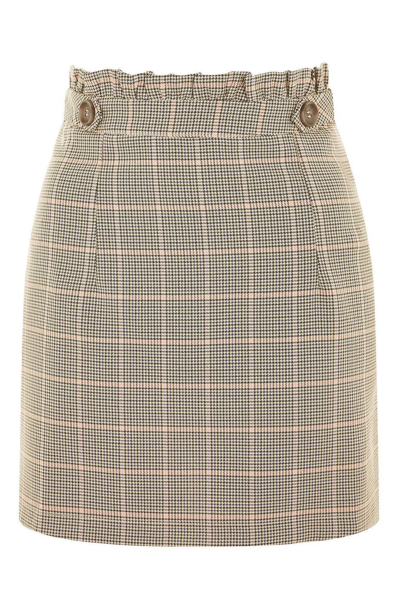 Frill Edge Heritage Check Skirt,                             Alternate thumbnail 3, color,                             230