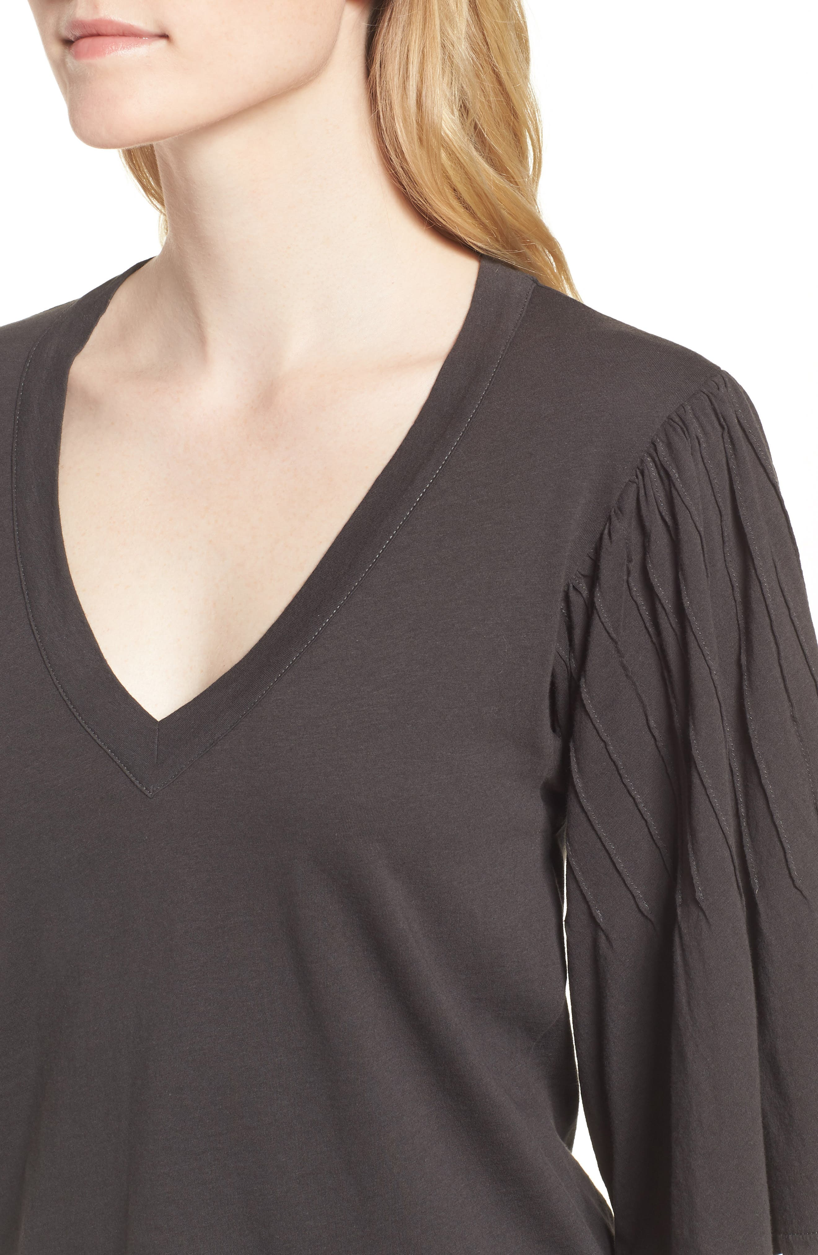 Pintuck Sleeve Cotton Blouse,                             Alternate thumbnail 4, color,                             010