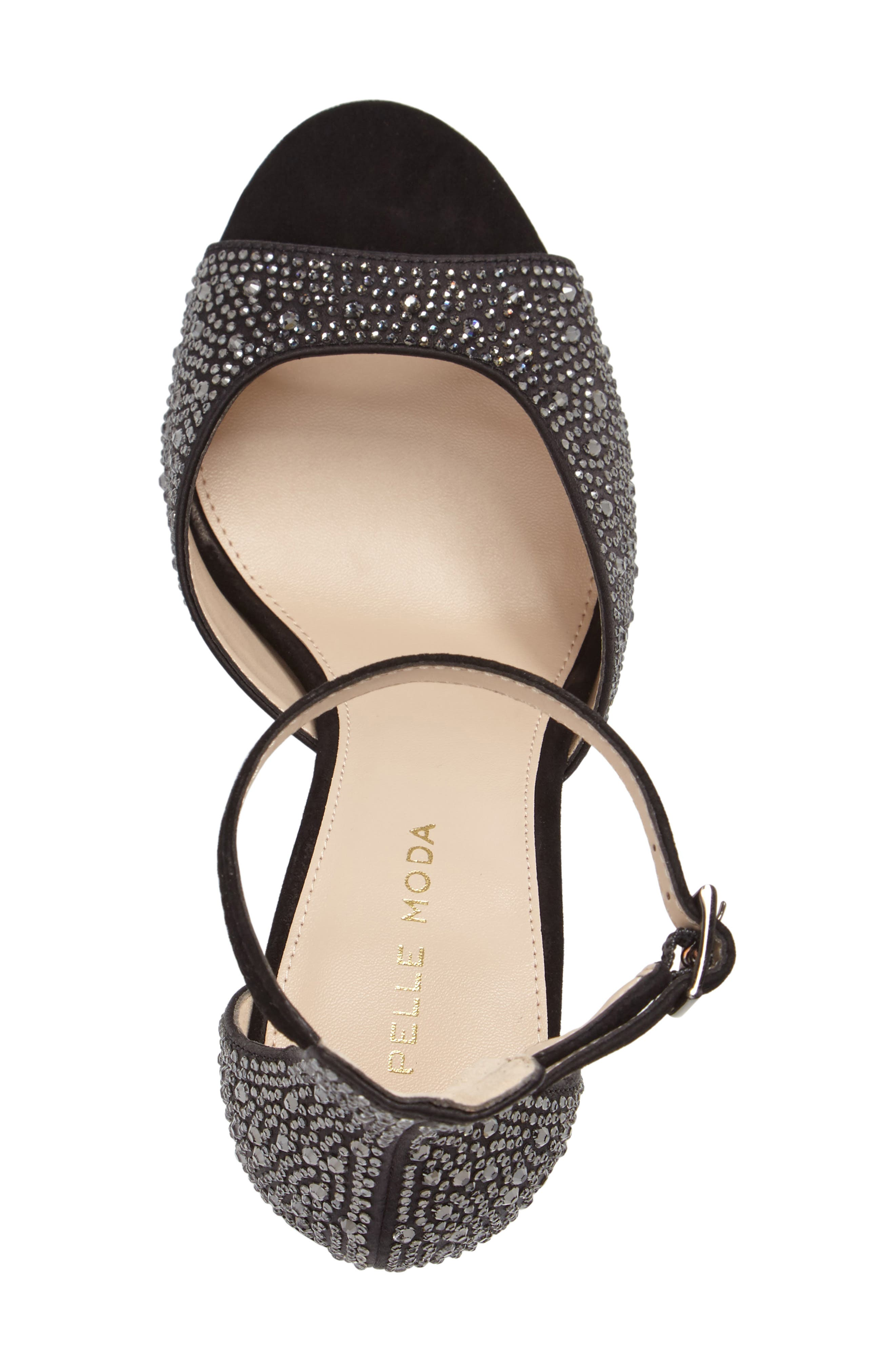 Crystal Embellished Ankle Strap Sandal,                             Alternate thumbnail 3, color,                             001