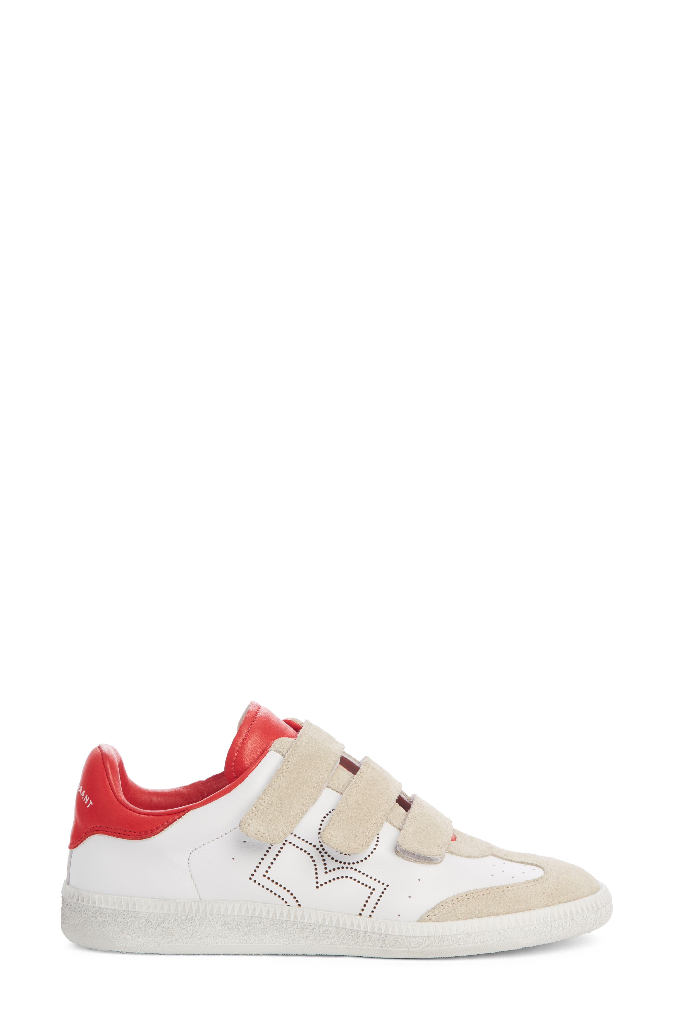 ISABEL MARANT,                             Beth Low Top Sneaker,                             Alternate thumbnail 3, color,                             WHITE / RED