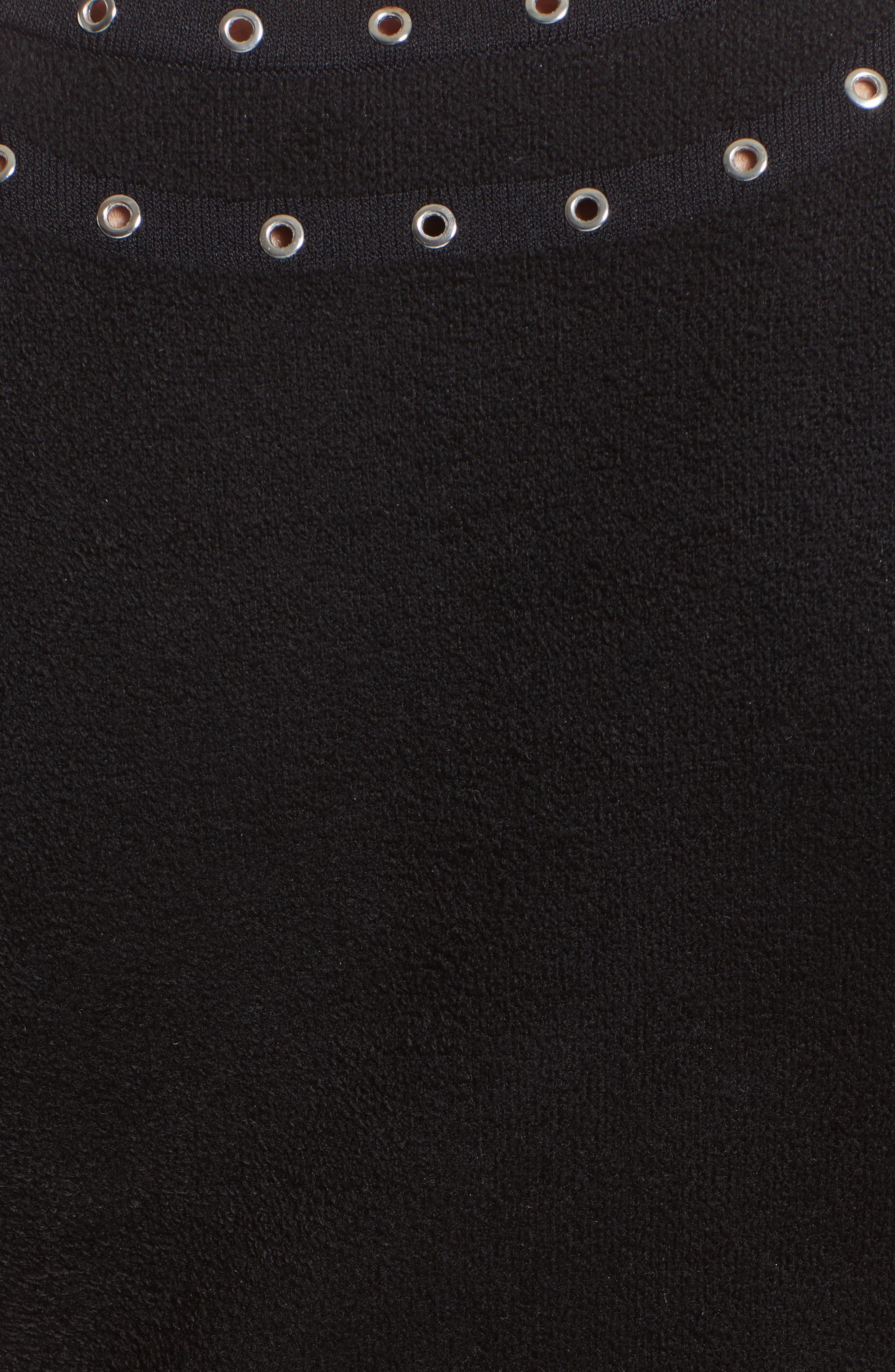 Eyelet Detail Knit Dress,                             Alternate thumbnail 6, color,                             001