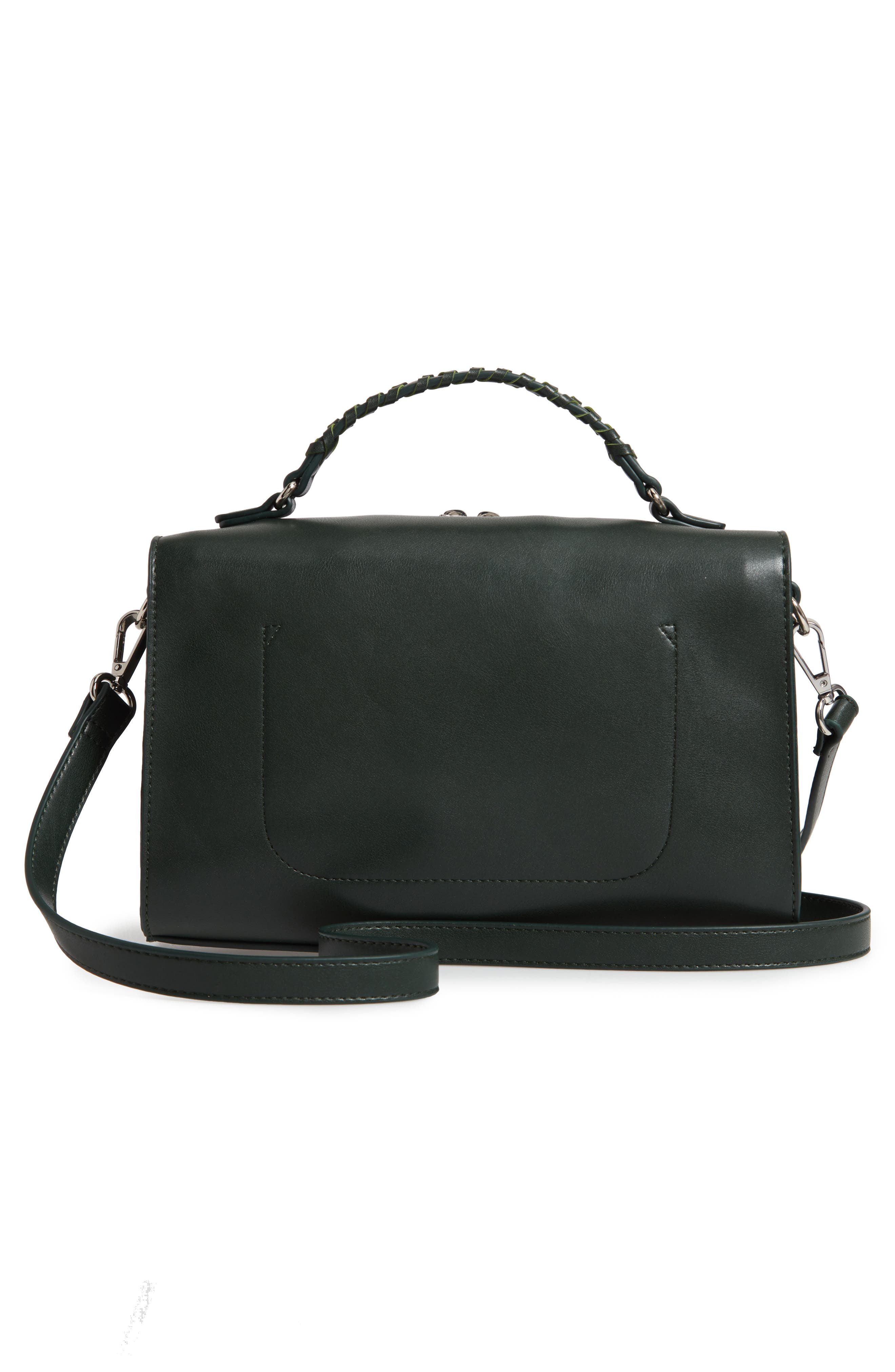 Whipstitch Handle Faux Leather Crossbody Bag,                             Alternate thumbnail 3, color,                             DARK GREEN