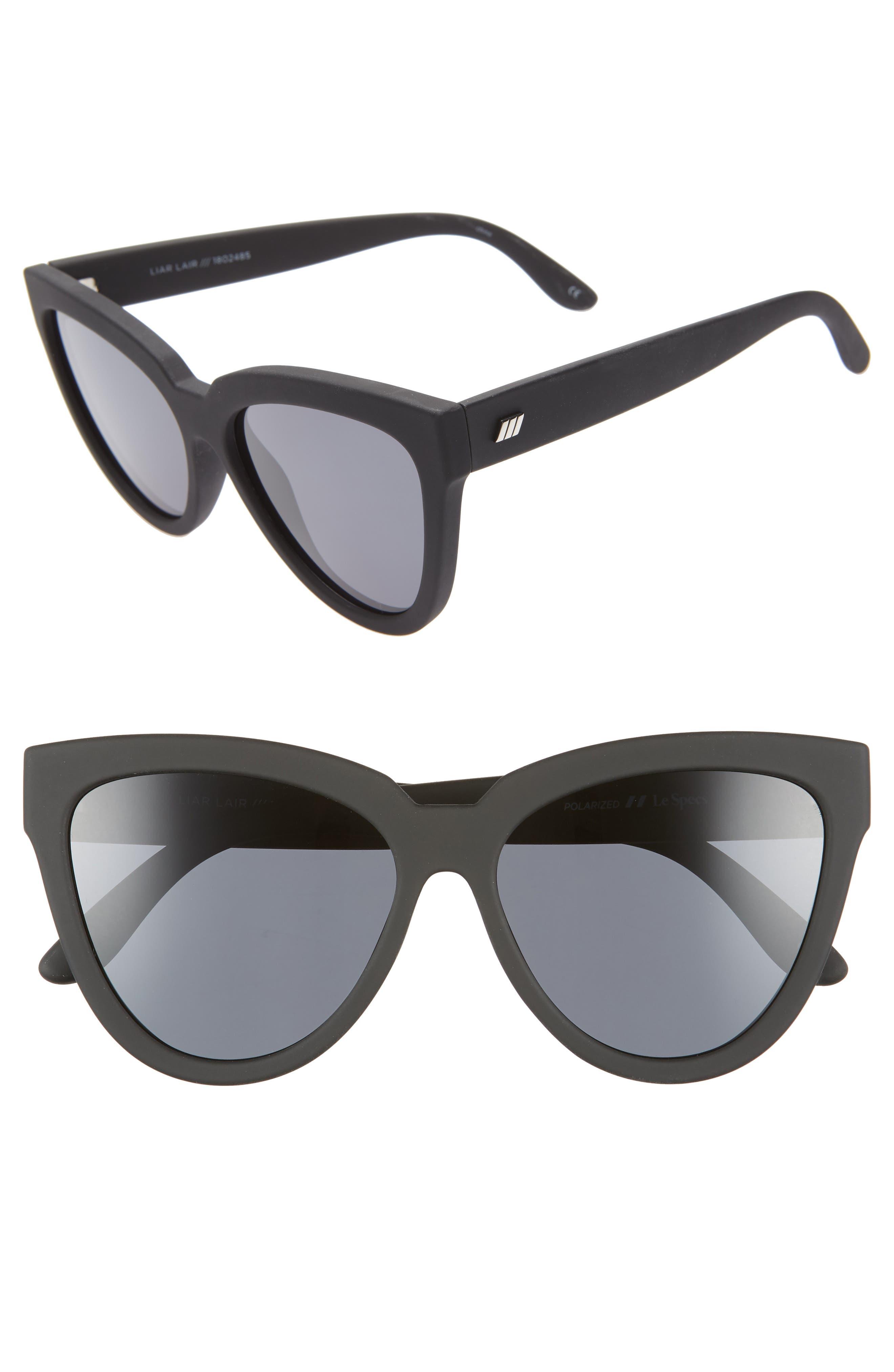 Le Specs Liar Liar 57Mm Polarized Cat Eye Sunglasses - Black Rubber