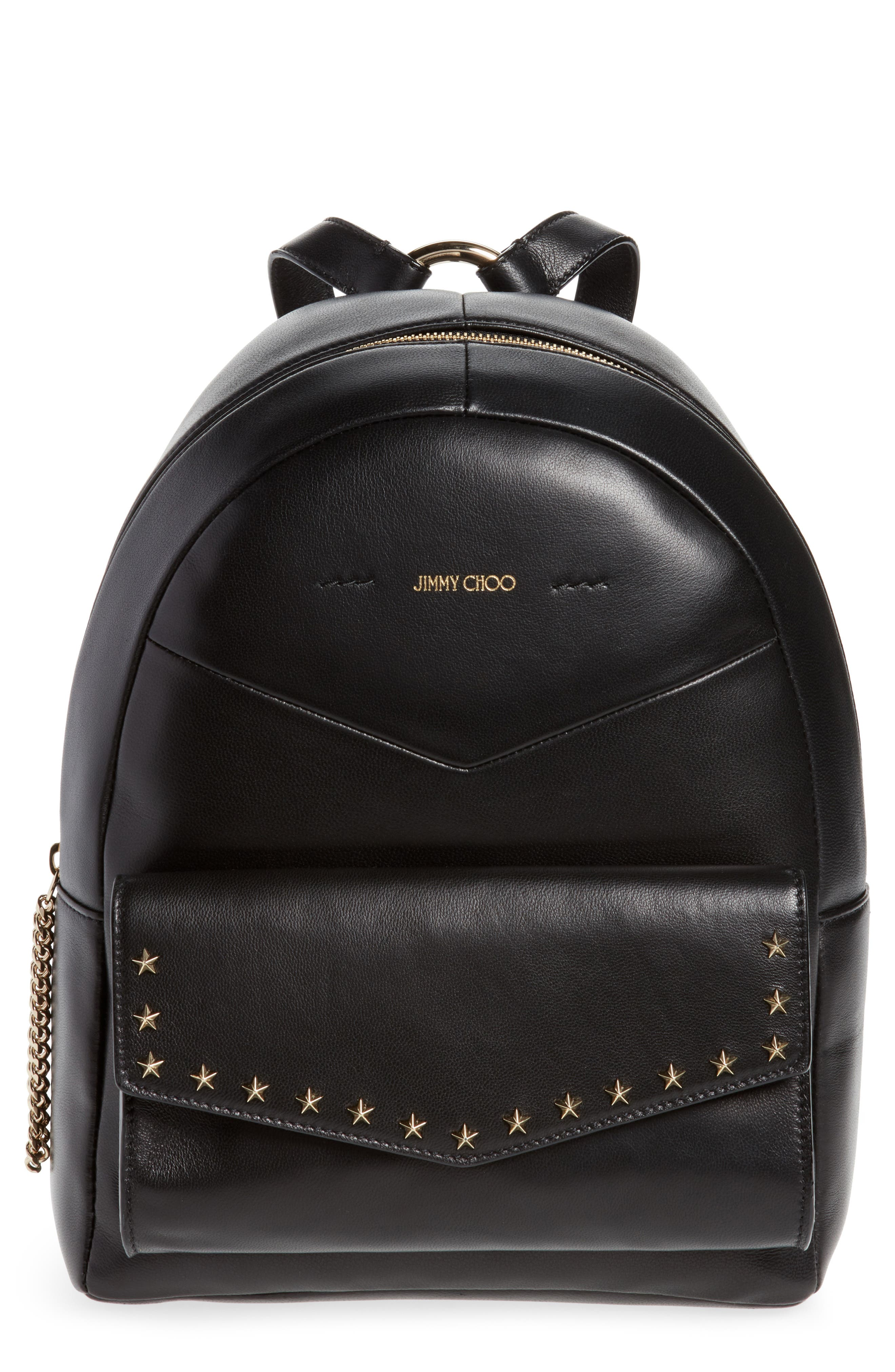 Cassie Star Studded Lambskin Leather Backpack,                             Main thumbnail 1, color,                             BLACK