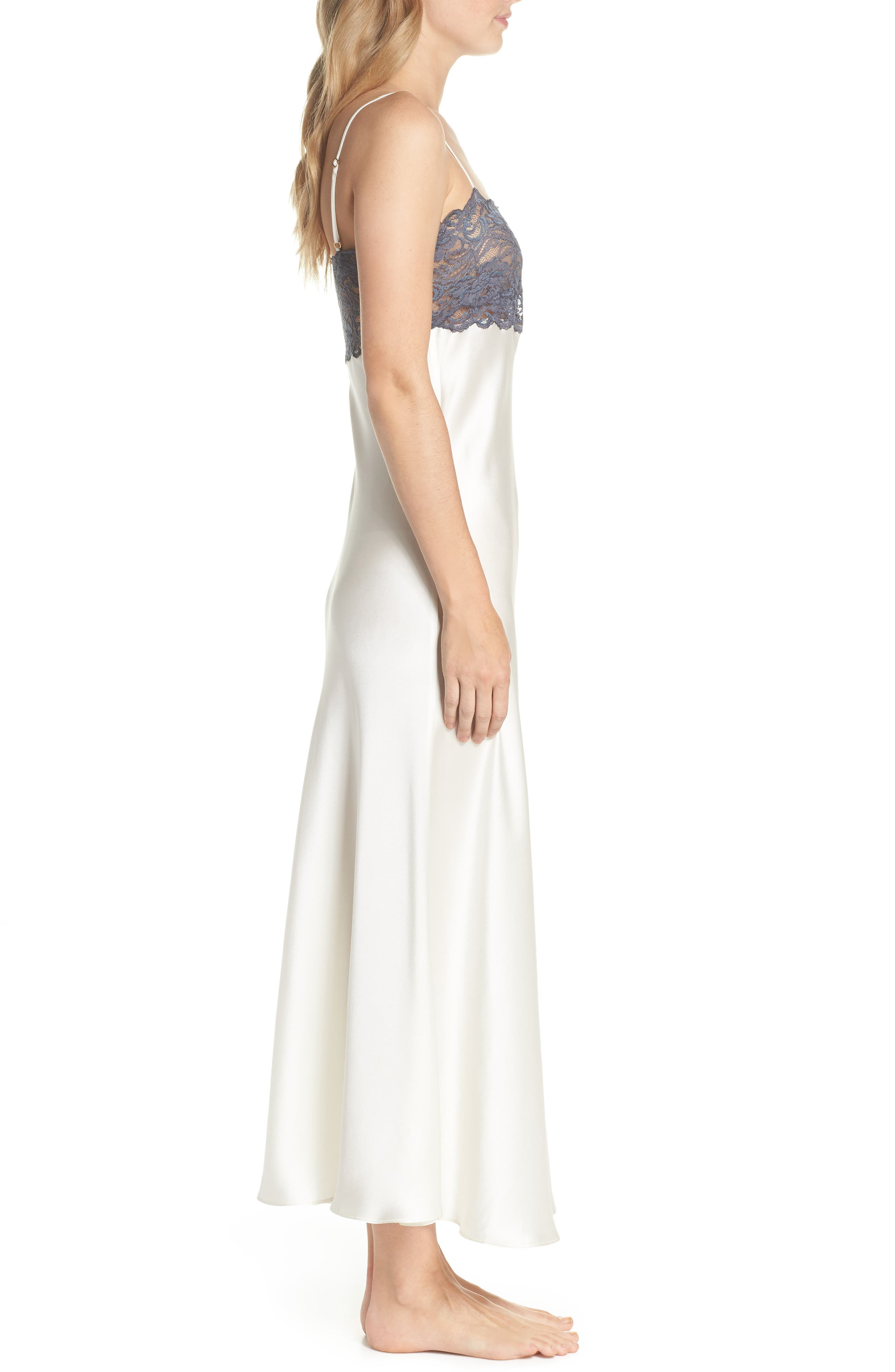 Christine Stretch Lace Silk Nightgown,                             Alternate thumbnail 3, color,                             900