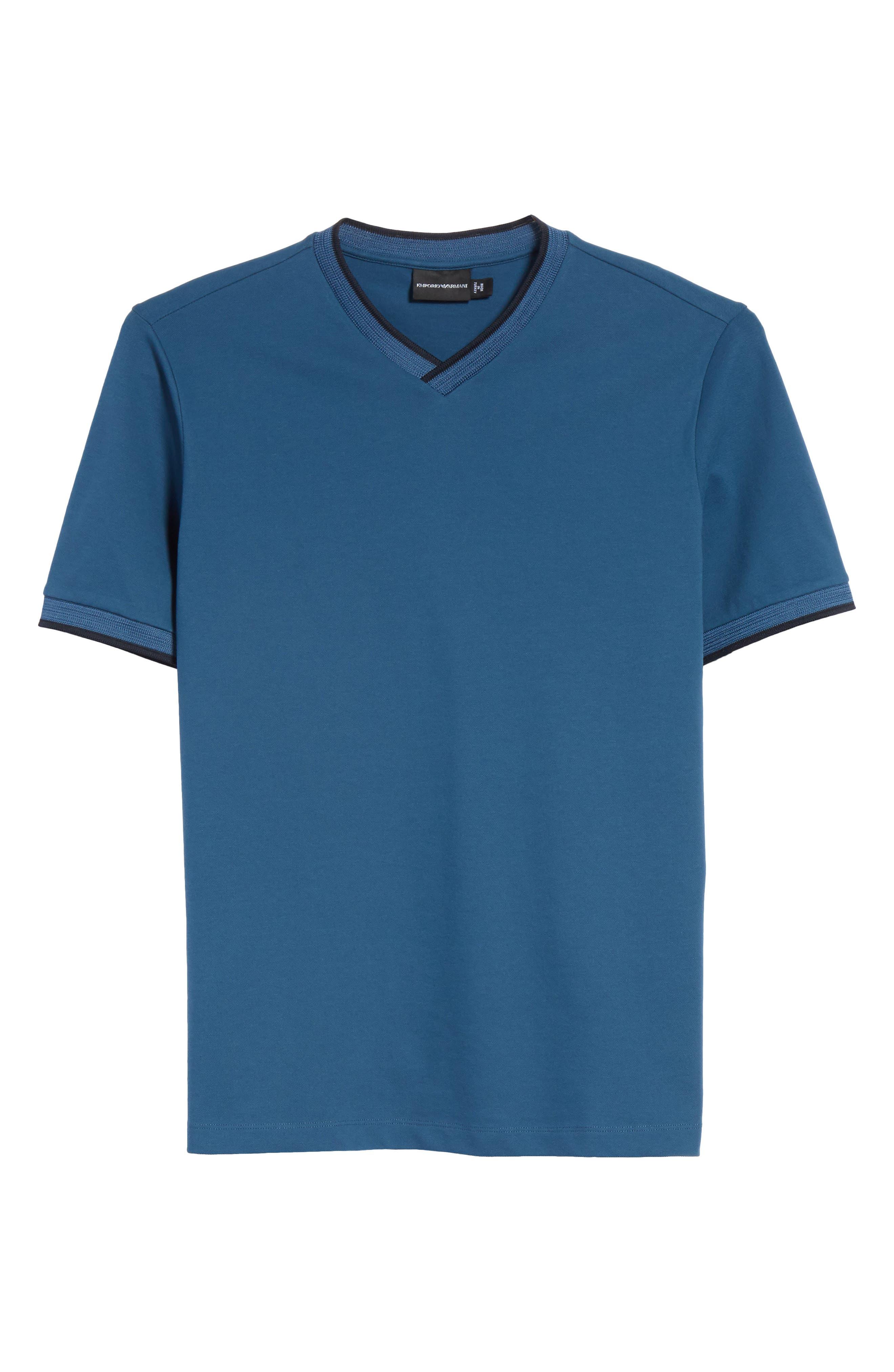 Slim Fit V-Neck Piqué T-Shirt,                             Alternate thumbnail 12, color,