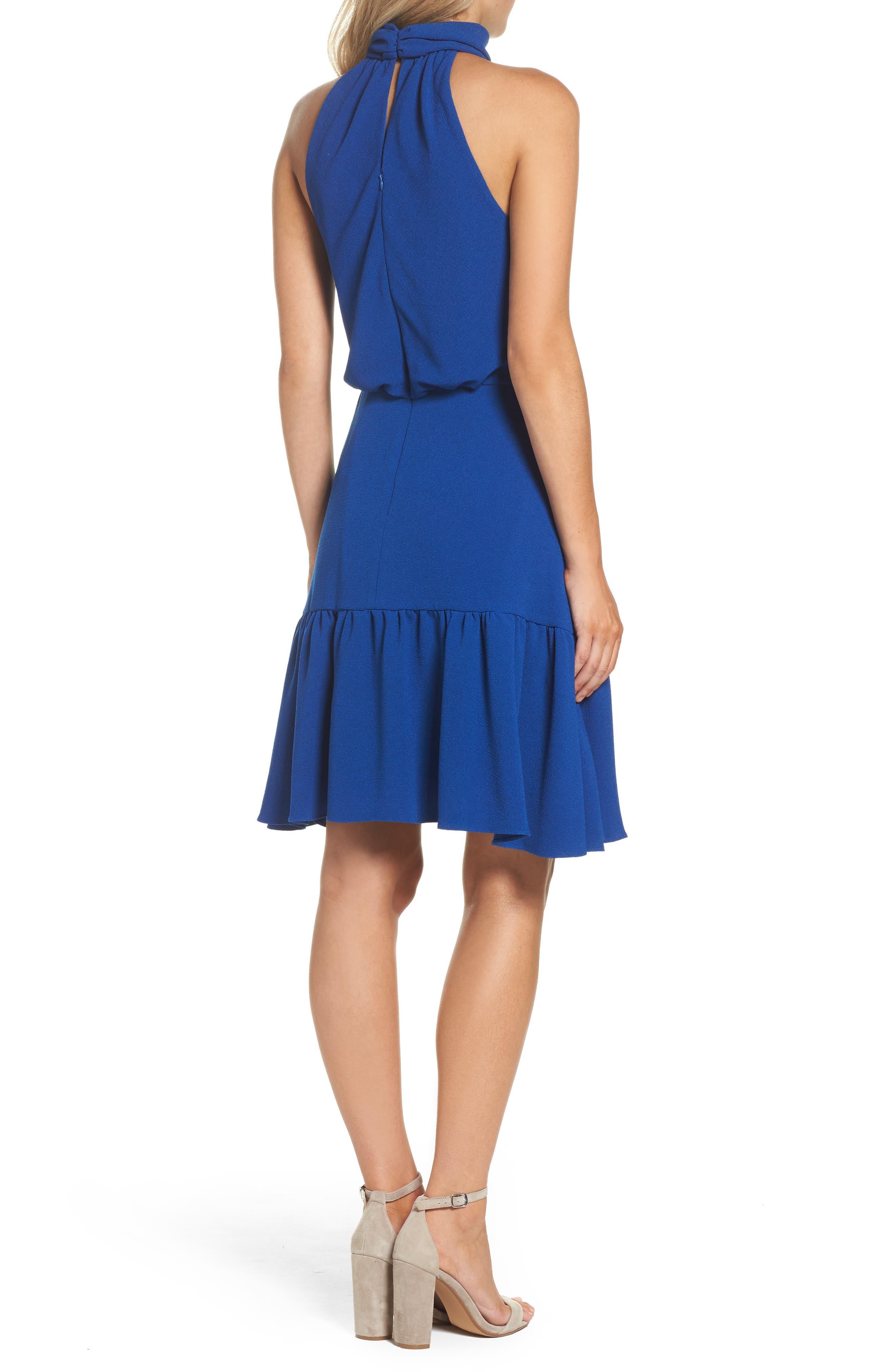 Stretch Crepe Blouson Halter Dress,                             Alternate thumbnail 2, color,                             494