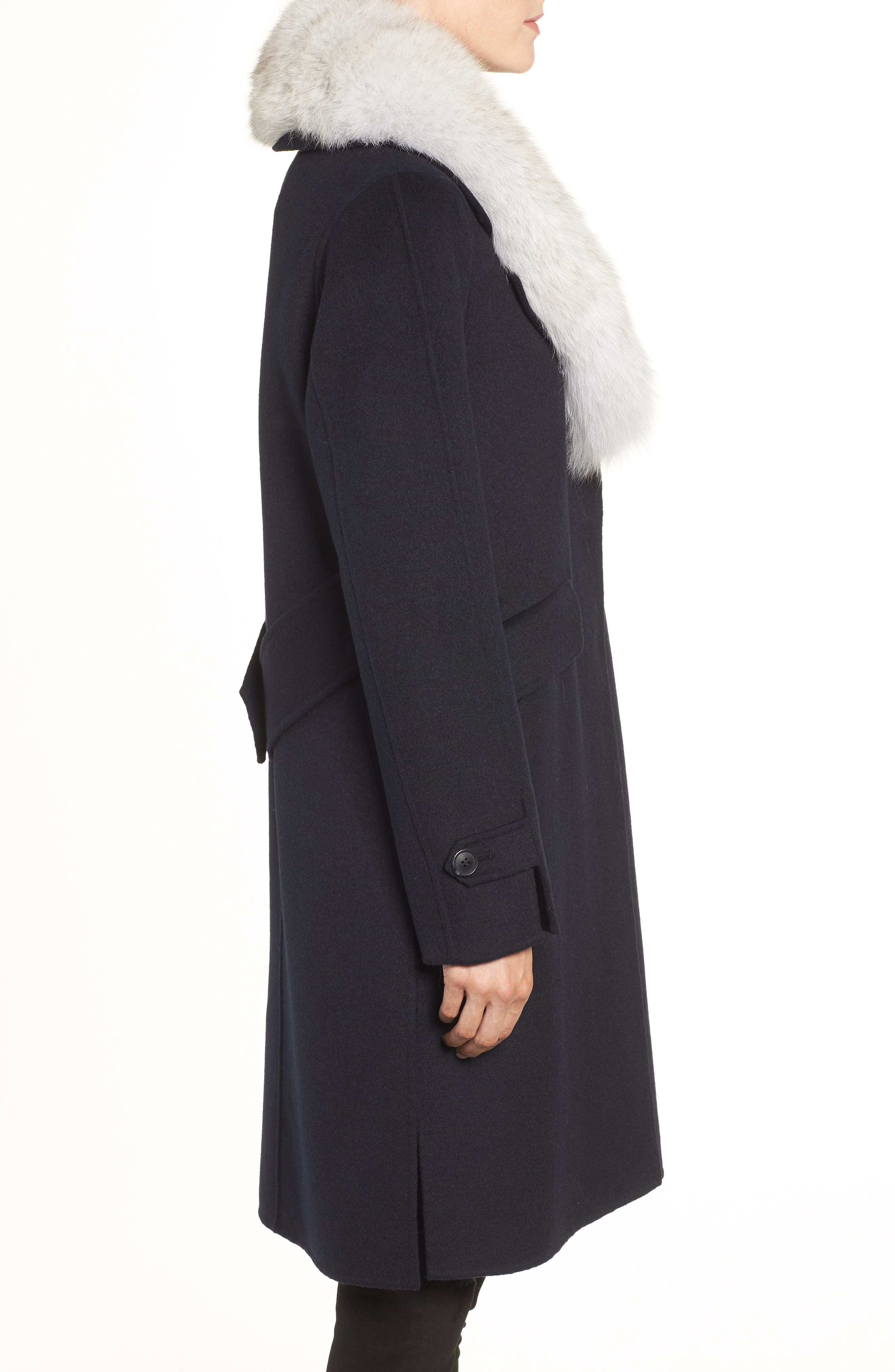 Wool Blend Reefer Coat with Genuine Fox Fur Trim,                             Alternate thumbnail 3, color,                             NAVY